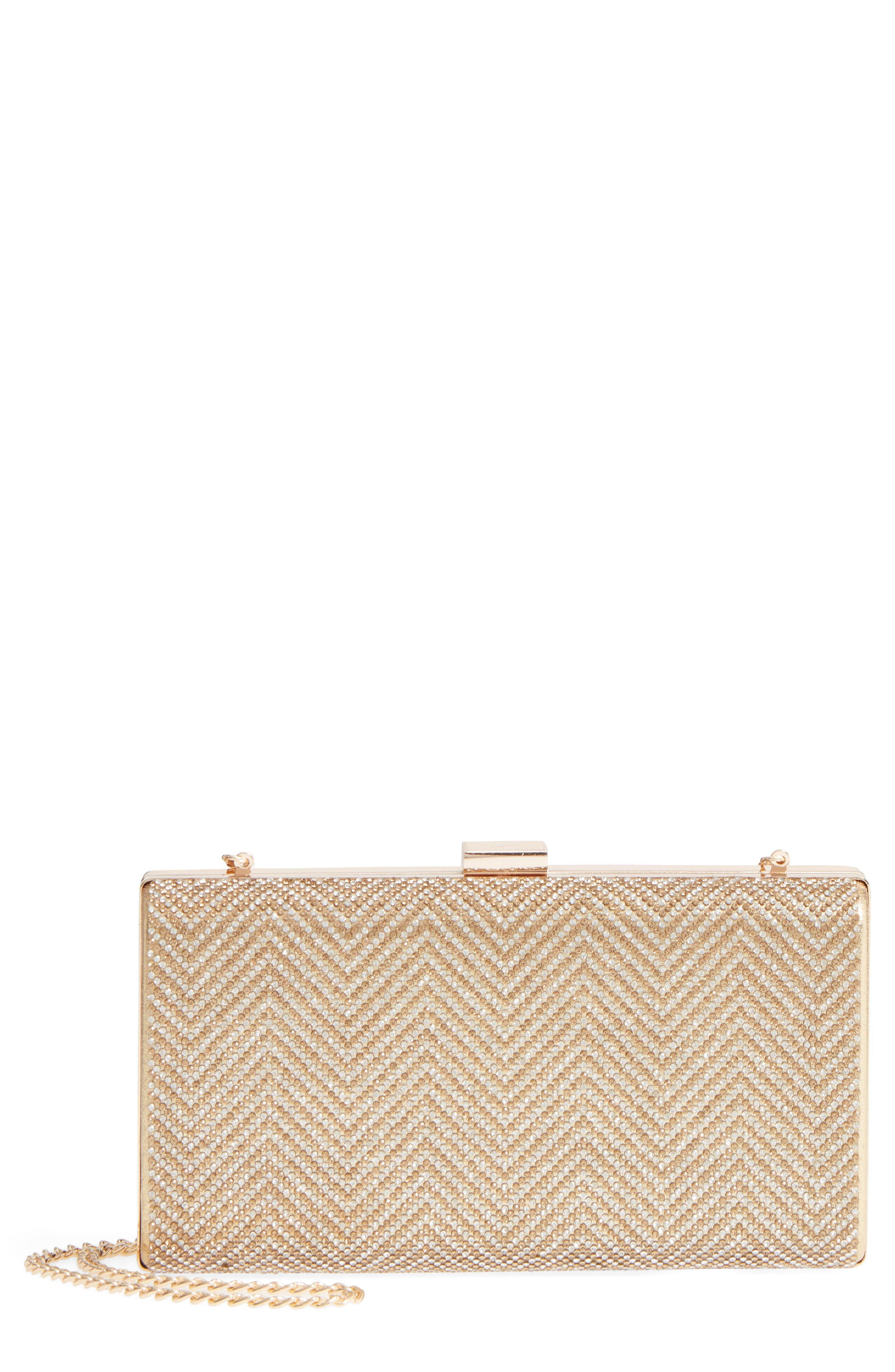 Laken Crystal Embellished Box Clutch,                             Main thumbnail 1, color,                             GOLD