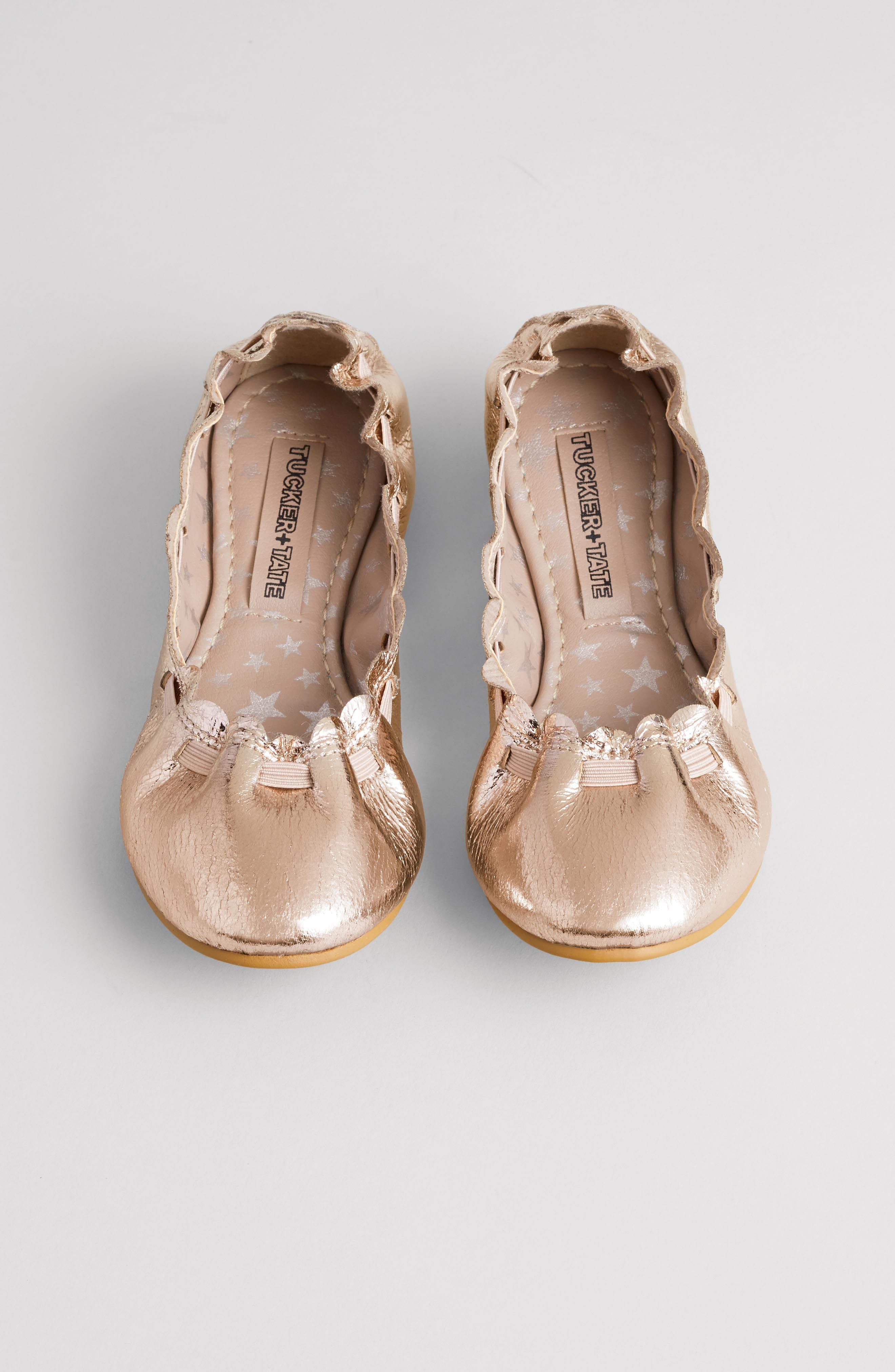 Scalloped Ballet Flat,                             Alternate thumbnail 7, color,                             ROSE GOLD CRACKLE FAUX LEATHER
