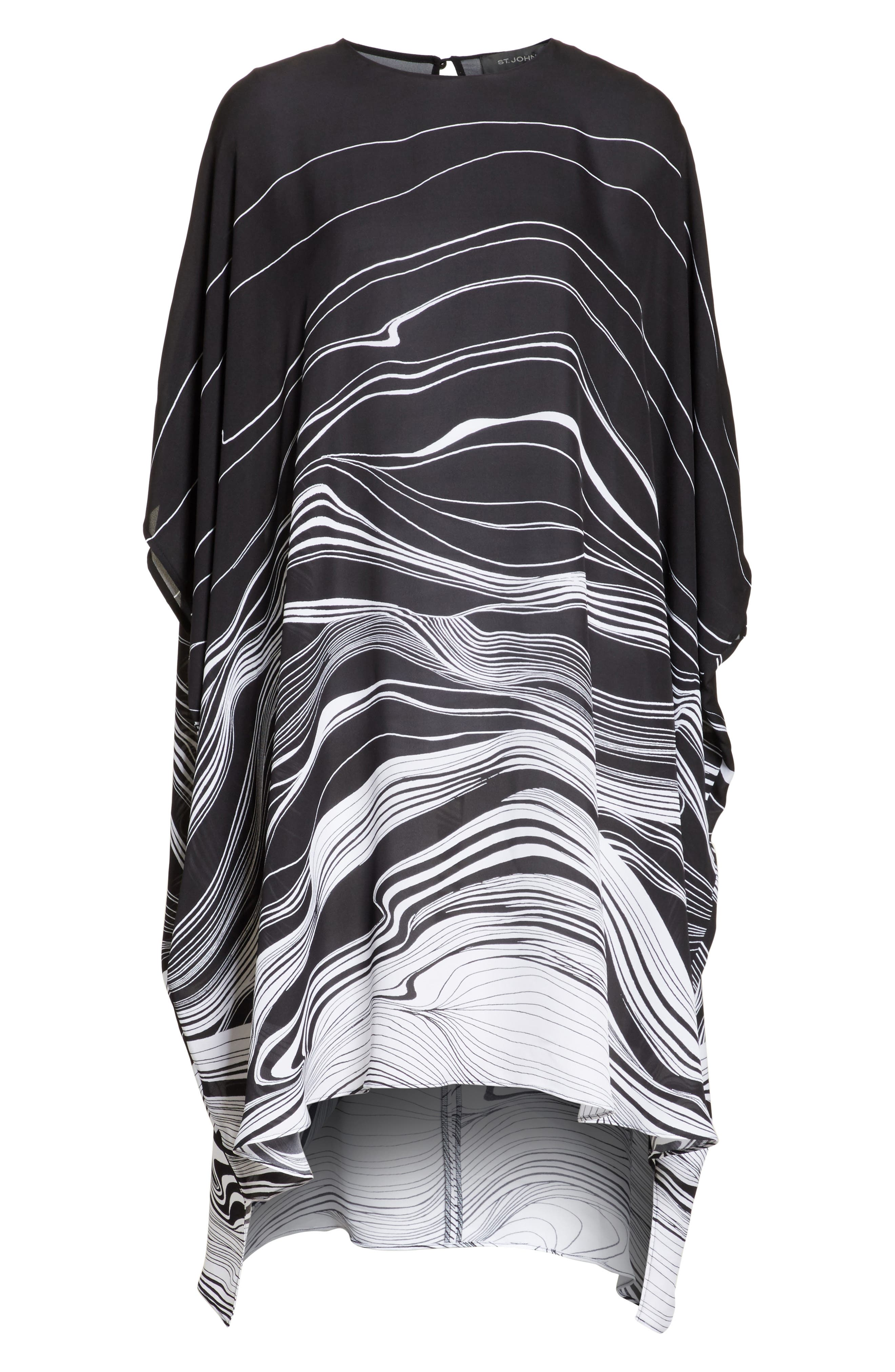 Brushstroke Print Silk Satin Dress,                             Alternate thumbnail 6, color,                             001