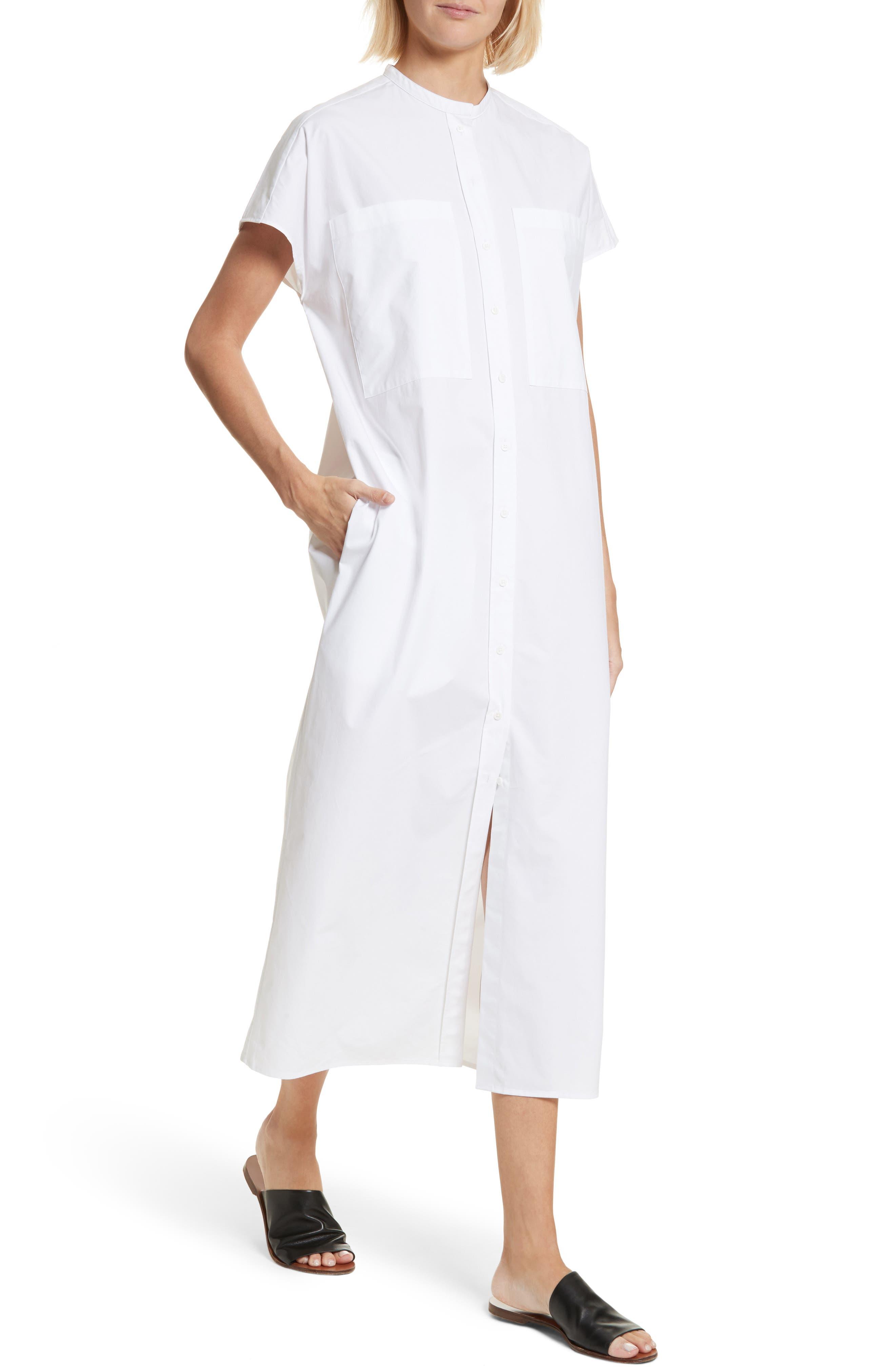 Isac Poplin Midi Dress,                             Alternate thumbnail 4, color,                             100