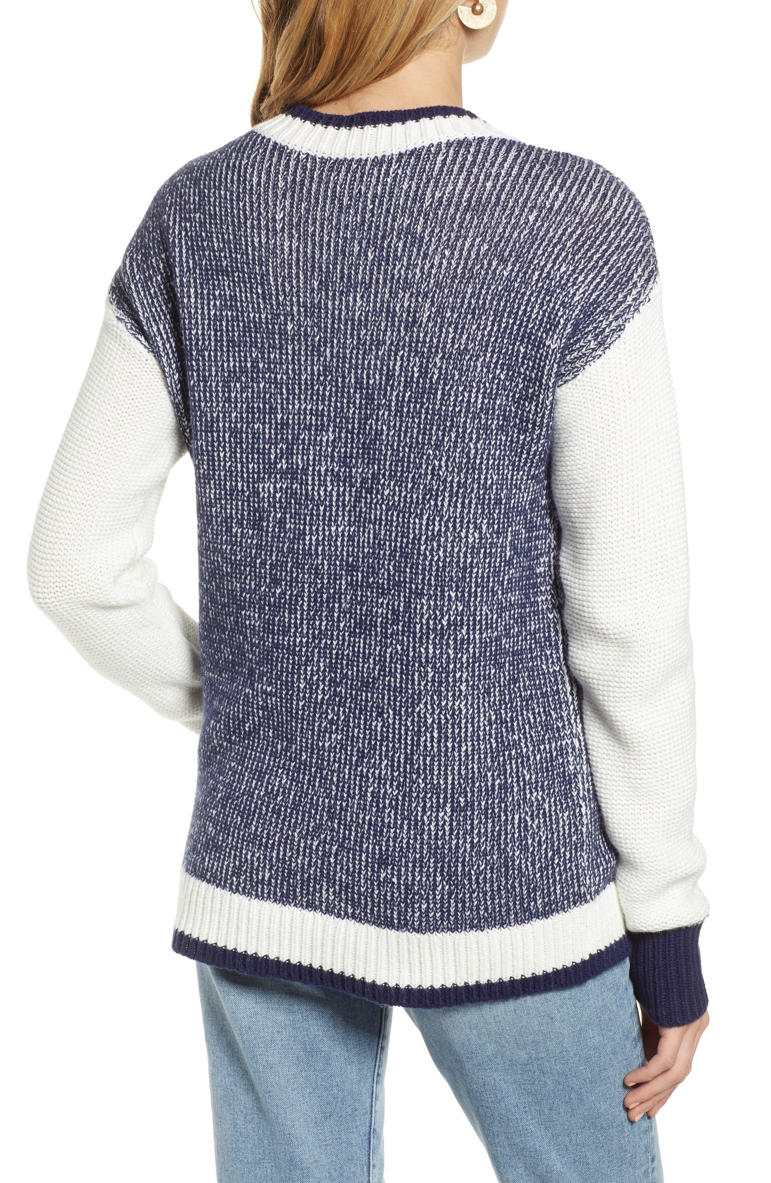 Marled V-Neck Sweater,                             Alternate thumbnail 2, color,                             NAVY MARITIME- WHITE COMBO