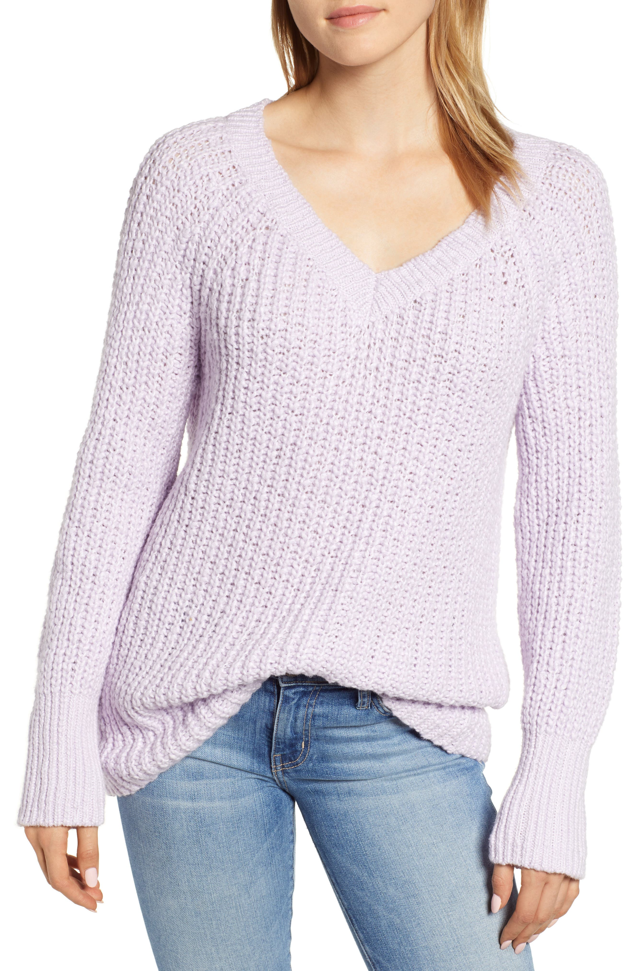 Cozystitch V-Neck Sweater,                             Main thumbnail 1, color,                             LILAC
