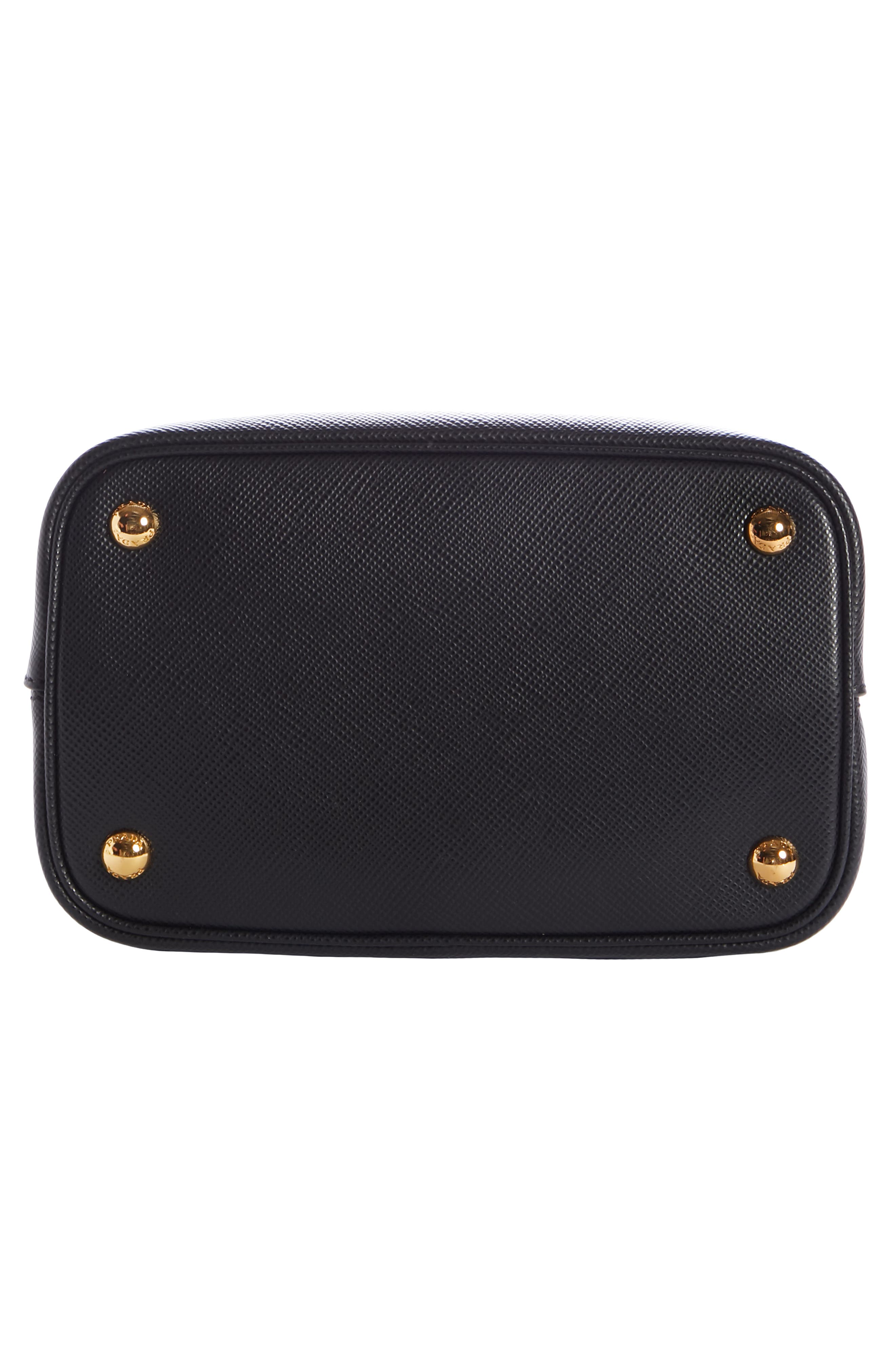 Small Saffiano Leather Bucket Bag,                             Alternate thumbnail 5, color,                             NERO/ FUOCO