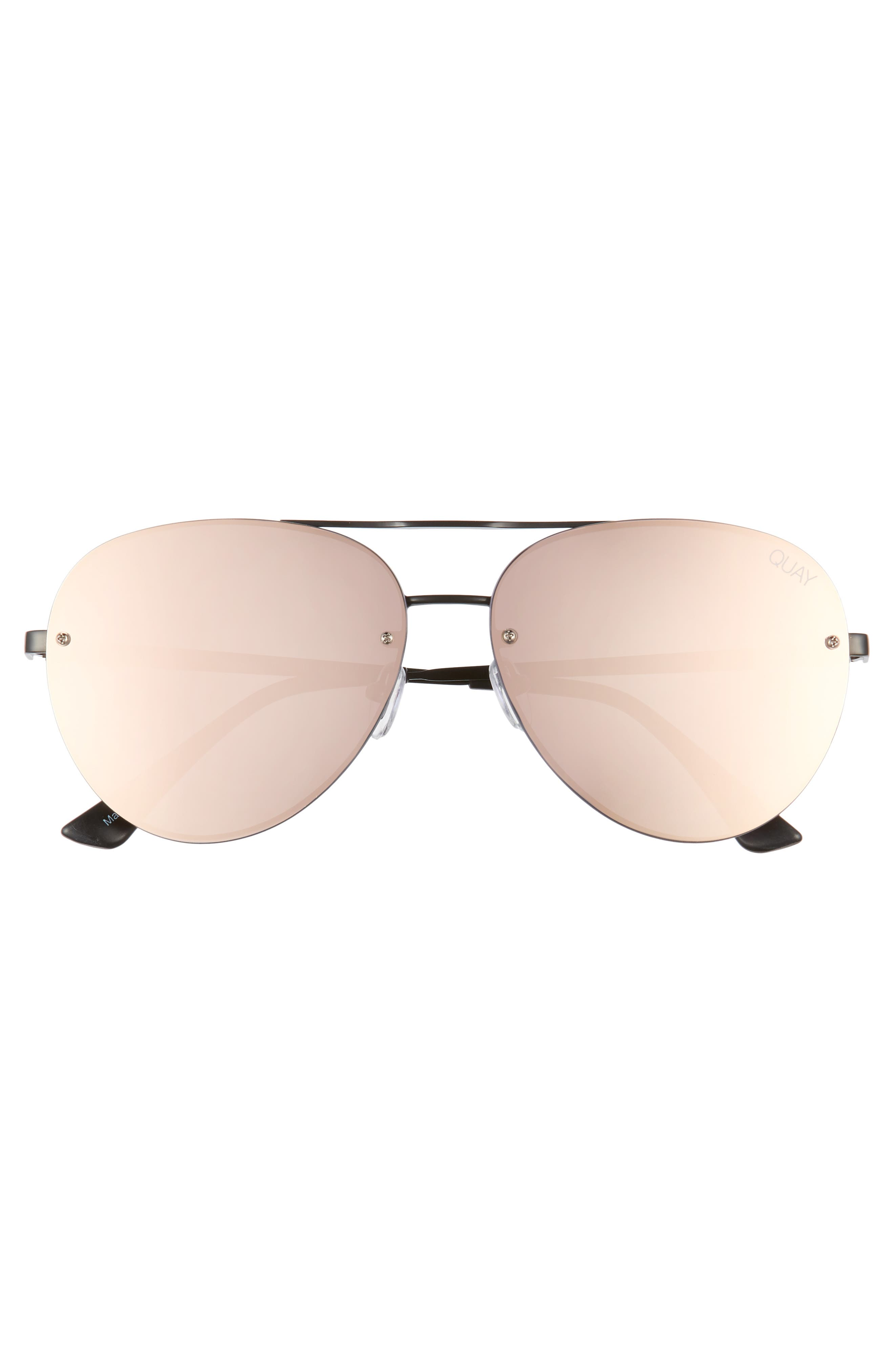 x Missguided Cool Innit 56mm Aviator Sunglasses,                             Alternate thumbnail 3, color,                             001