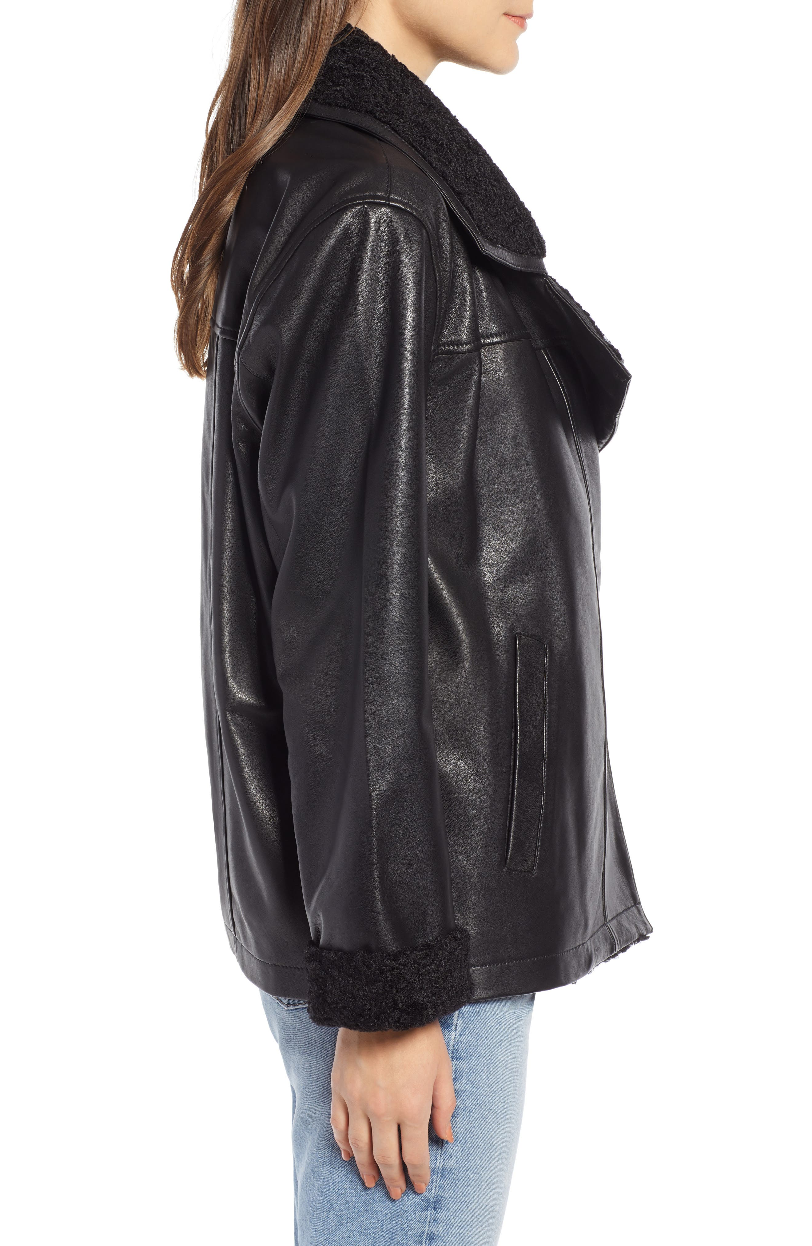 SOMETHING NAVY,                             Aviator Leather Jacket,                             Alternate thumbnail 3, color,                             001
