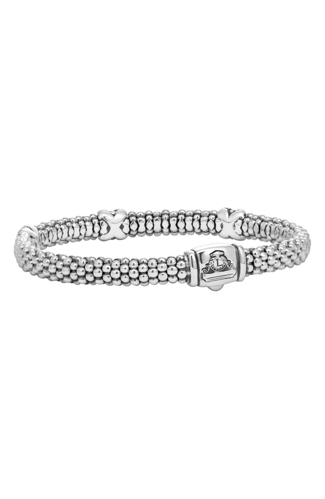 'Signature Caviar' Diamond Rope Bracelet,                             Alternate thumbnail 3, color,                             STERLING SILVER