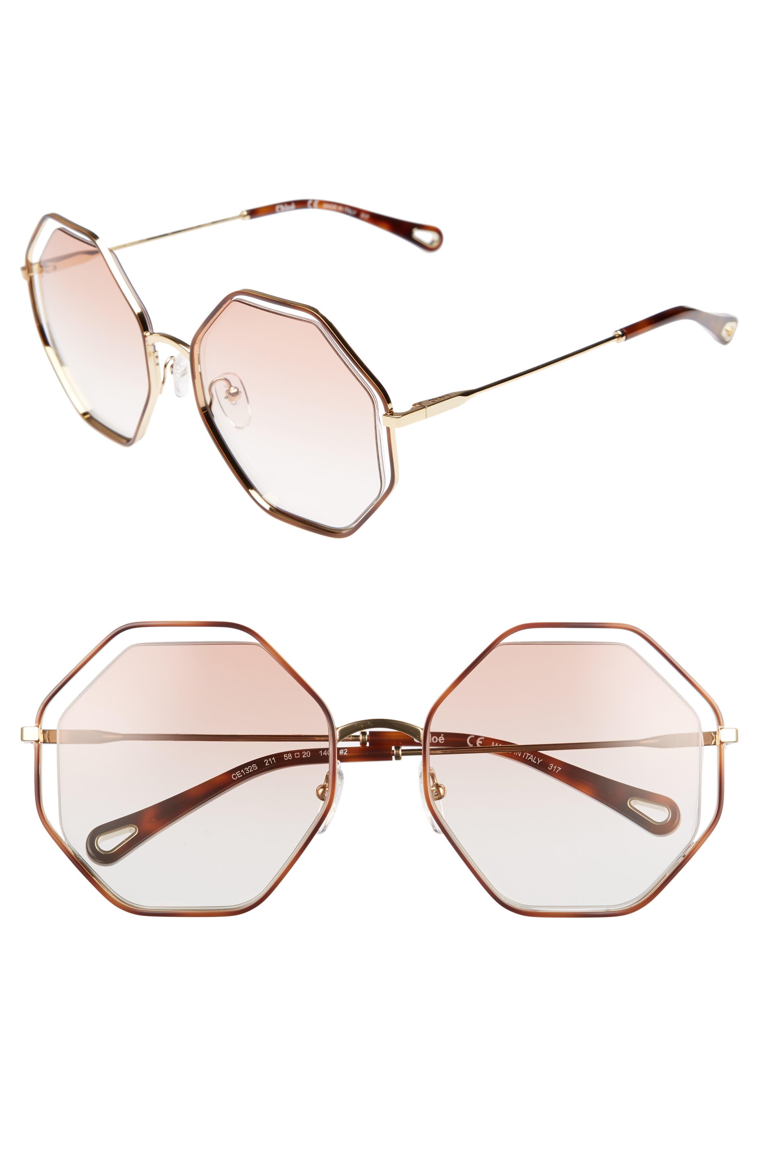 58mm Octagonal Halo Lens Sunglasses,                         Main,                         color, HAVANA/ PEACH