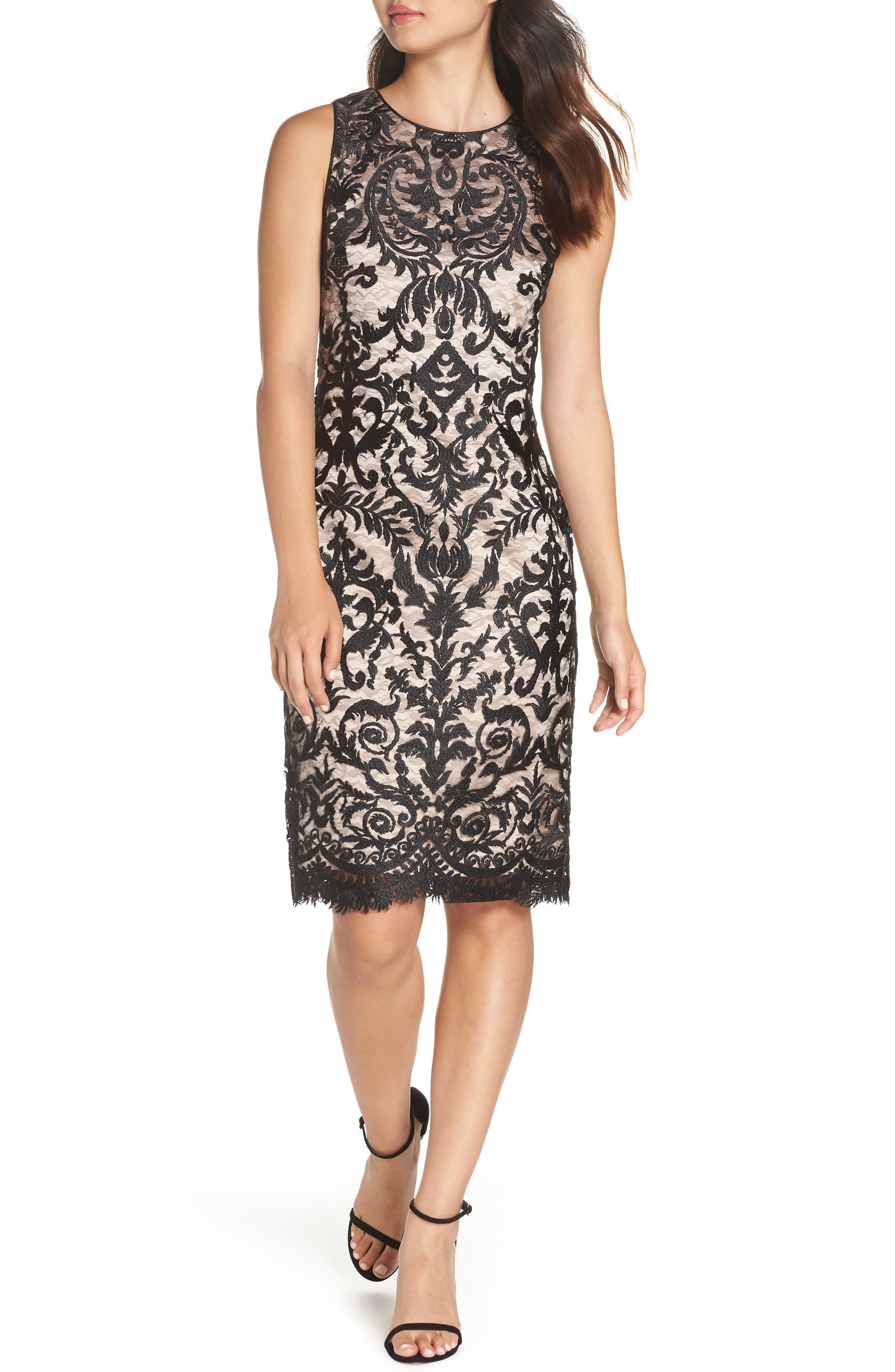 Embroidered Mesh Sheath Dress,                             Main thumbnail 1, color,                             BLACK/ TAN