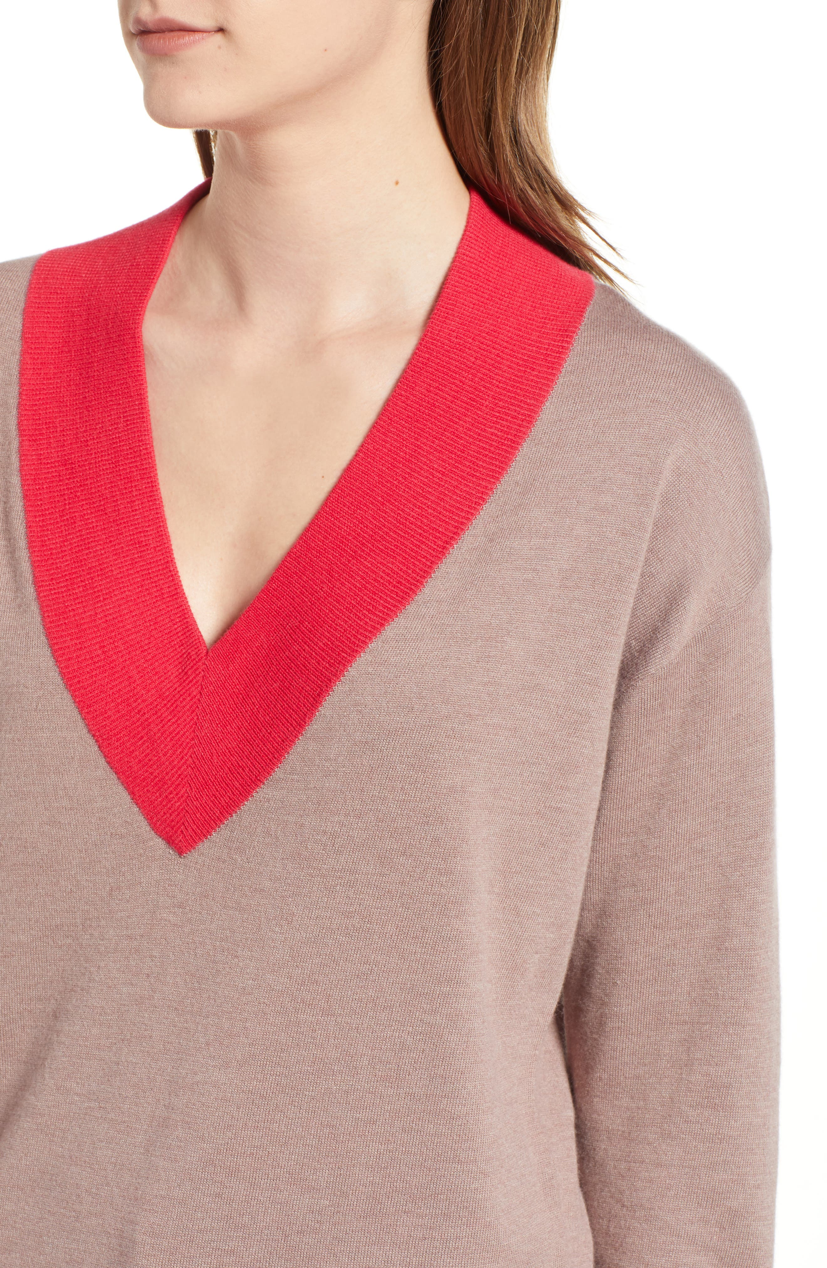 CHELSEA28,                             V-Neck Sweater,                             Alternate thumbnail 4, color,                             PINK FAWN HEATHER COMBO