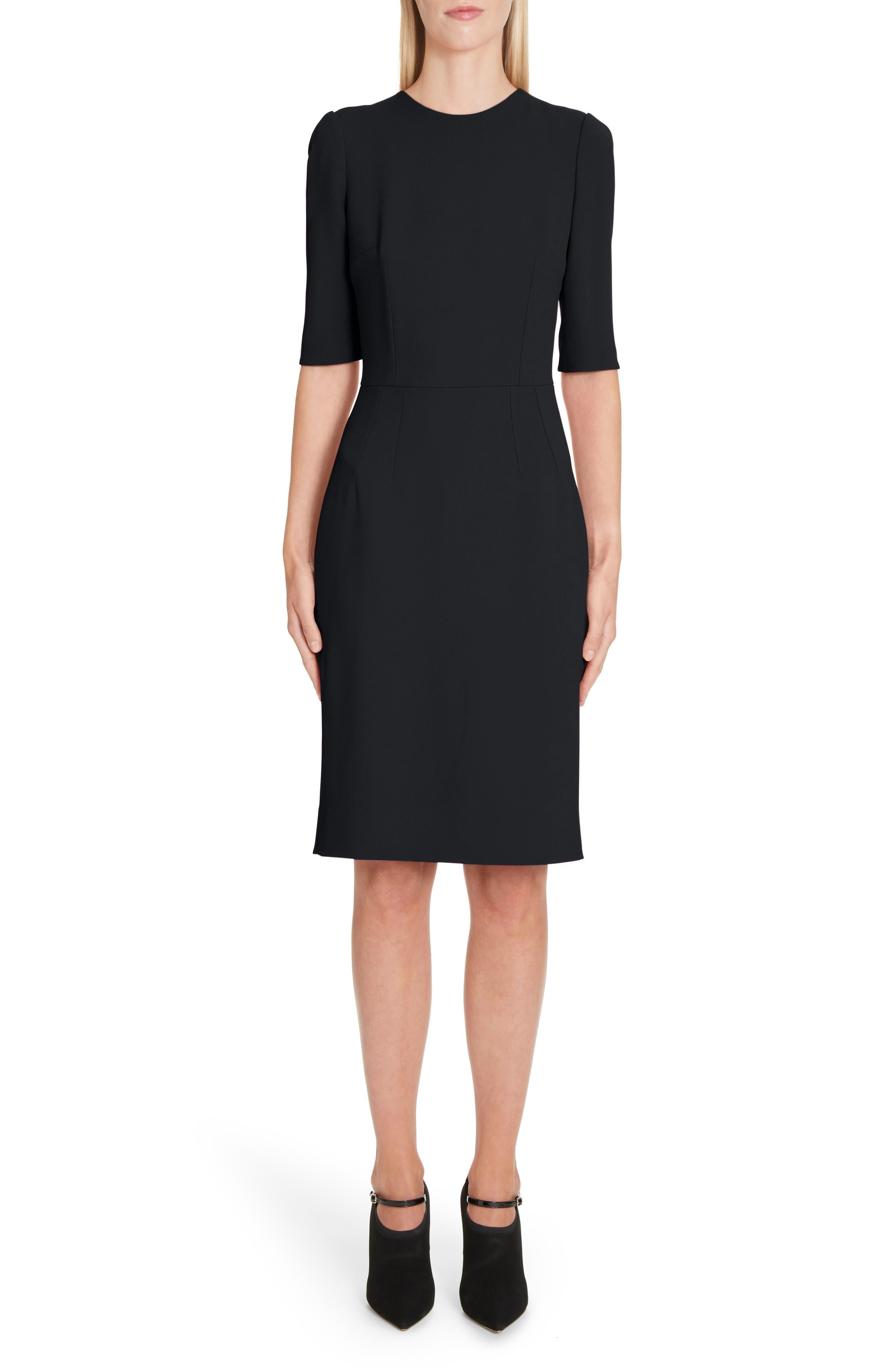 Dolce & gabbana Cady Sheath Dress, 8 IT - Black