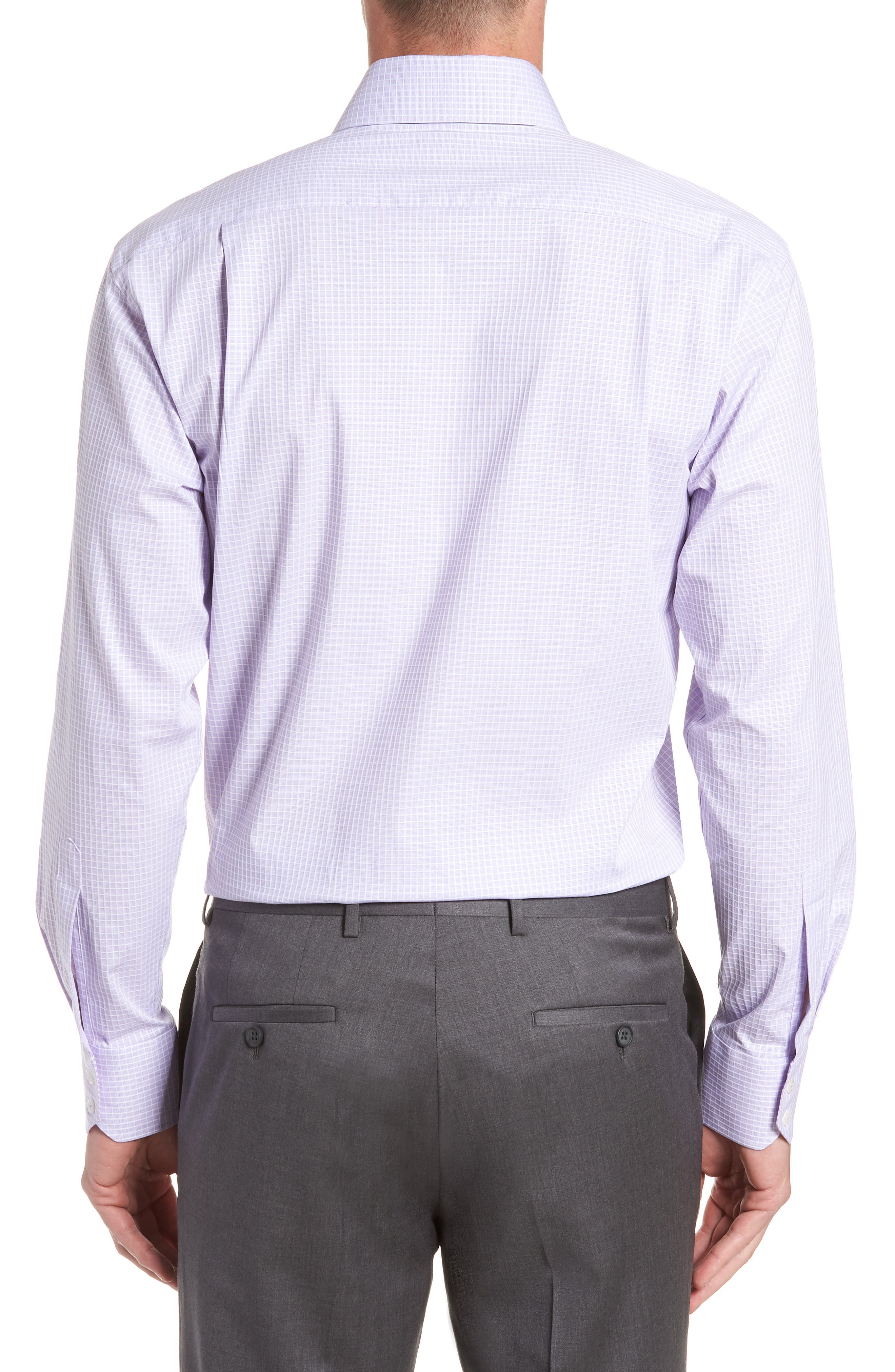 Trim Fit Stretch Check Dress Shirt,                             Alternate thumbnail 3, color,                             LILAC
