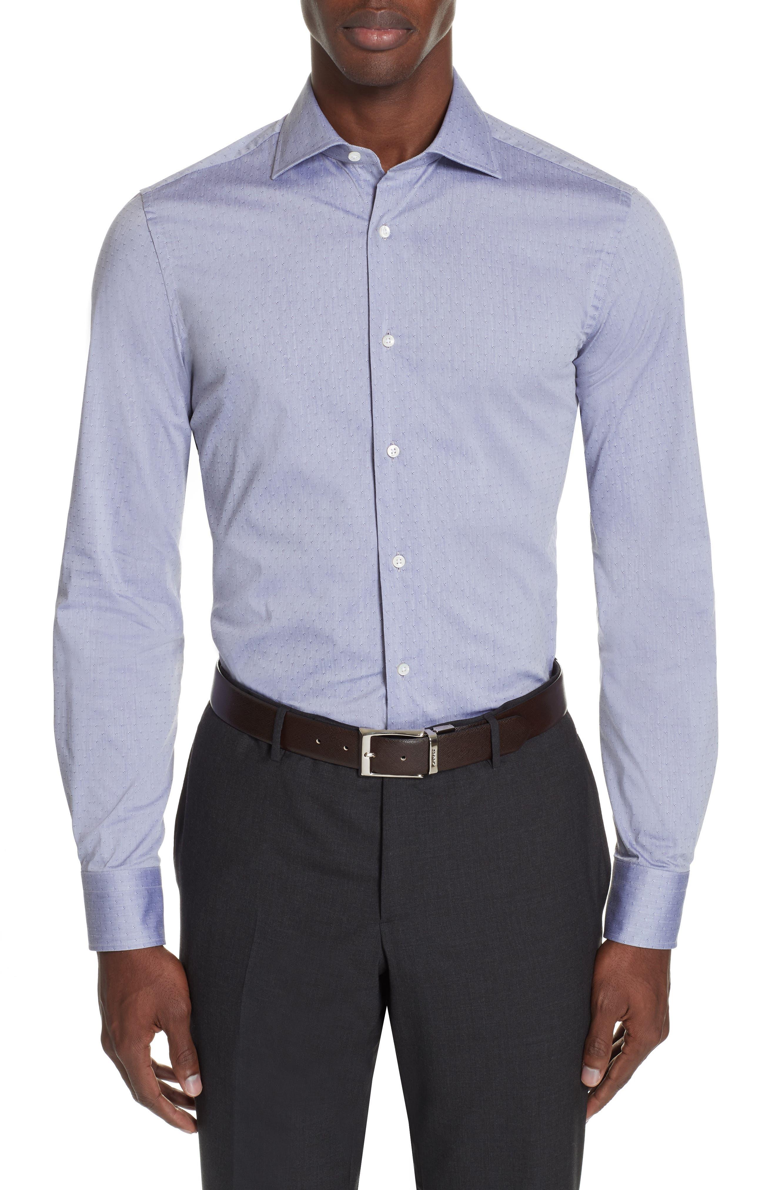 Slim Fit Stretch Dot Dress Shirt,                         Main,                         color, MED GREY