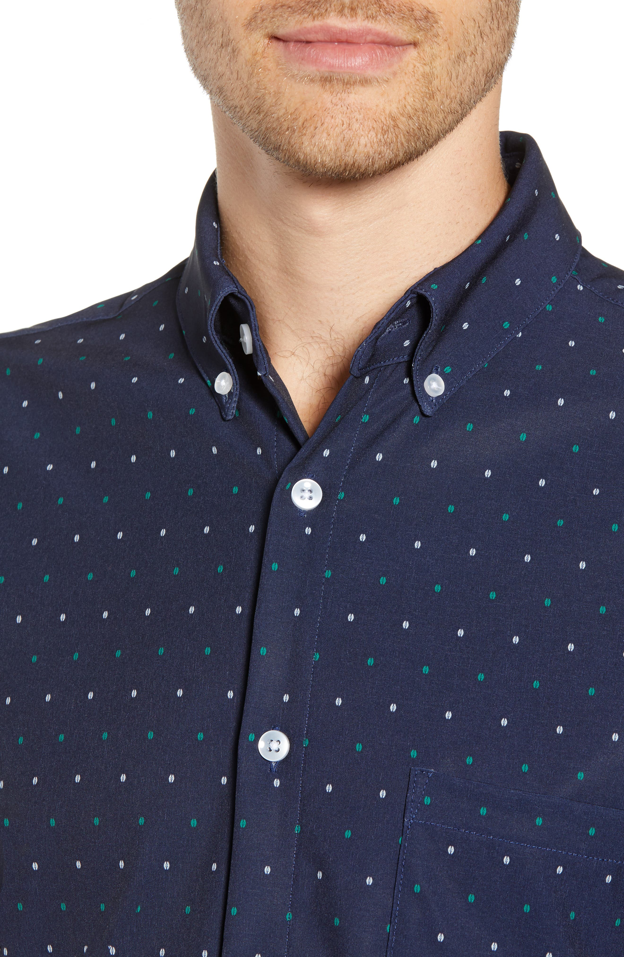 Jameson Regular Fit Dot Performance Sport Shirt,                             Alternate thumbnail 4, color,                             BLUE