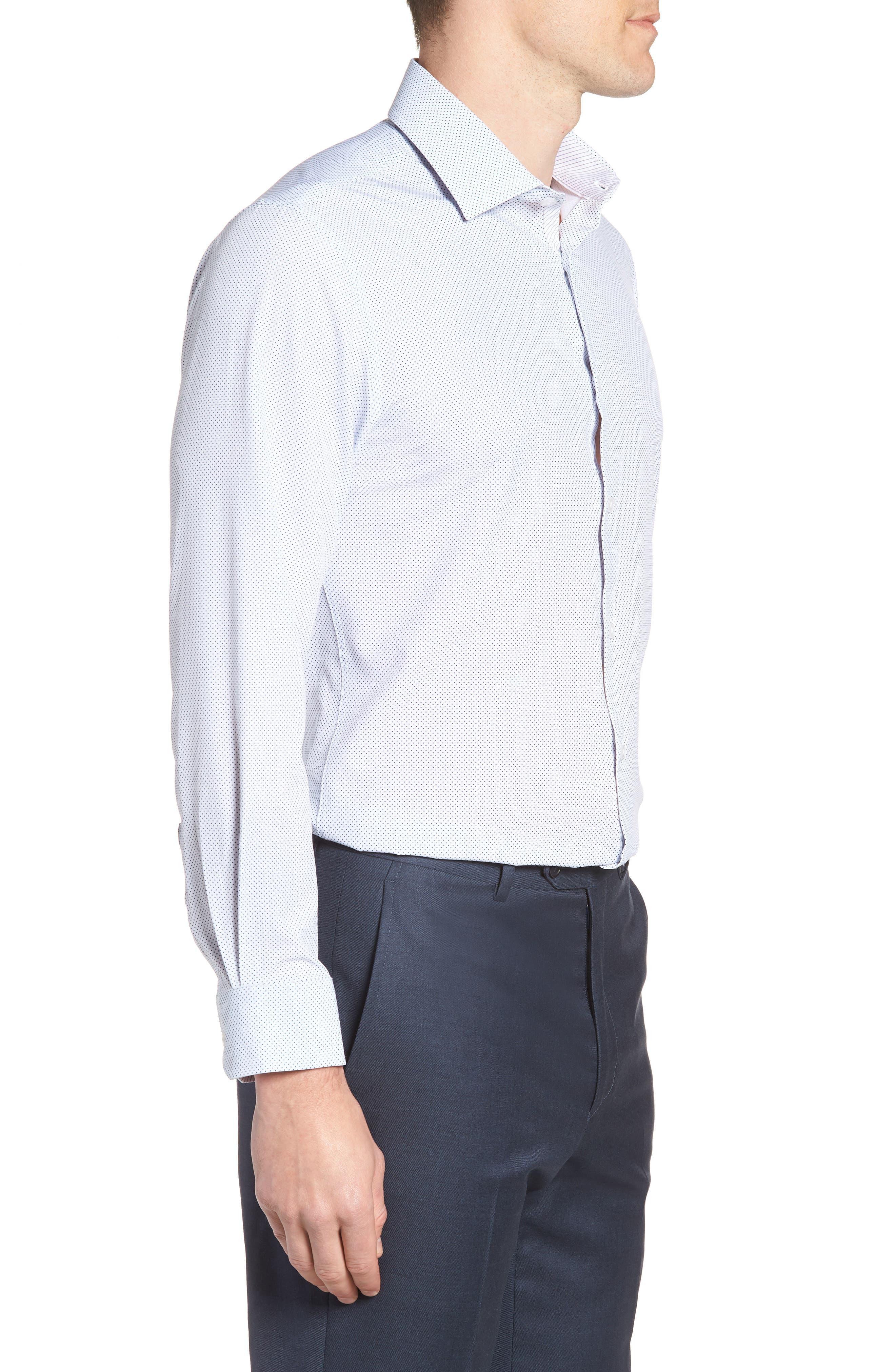 W.R.K,                             Trim Fit Dot 4-Way Stretch Dress Shirt,                             Alternate thumbnail 4, color,                             100