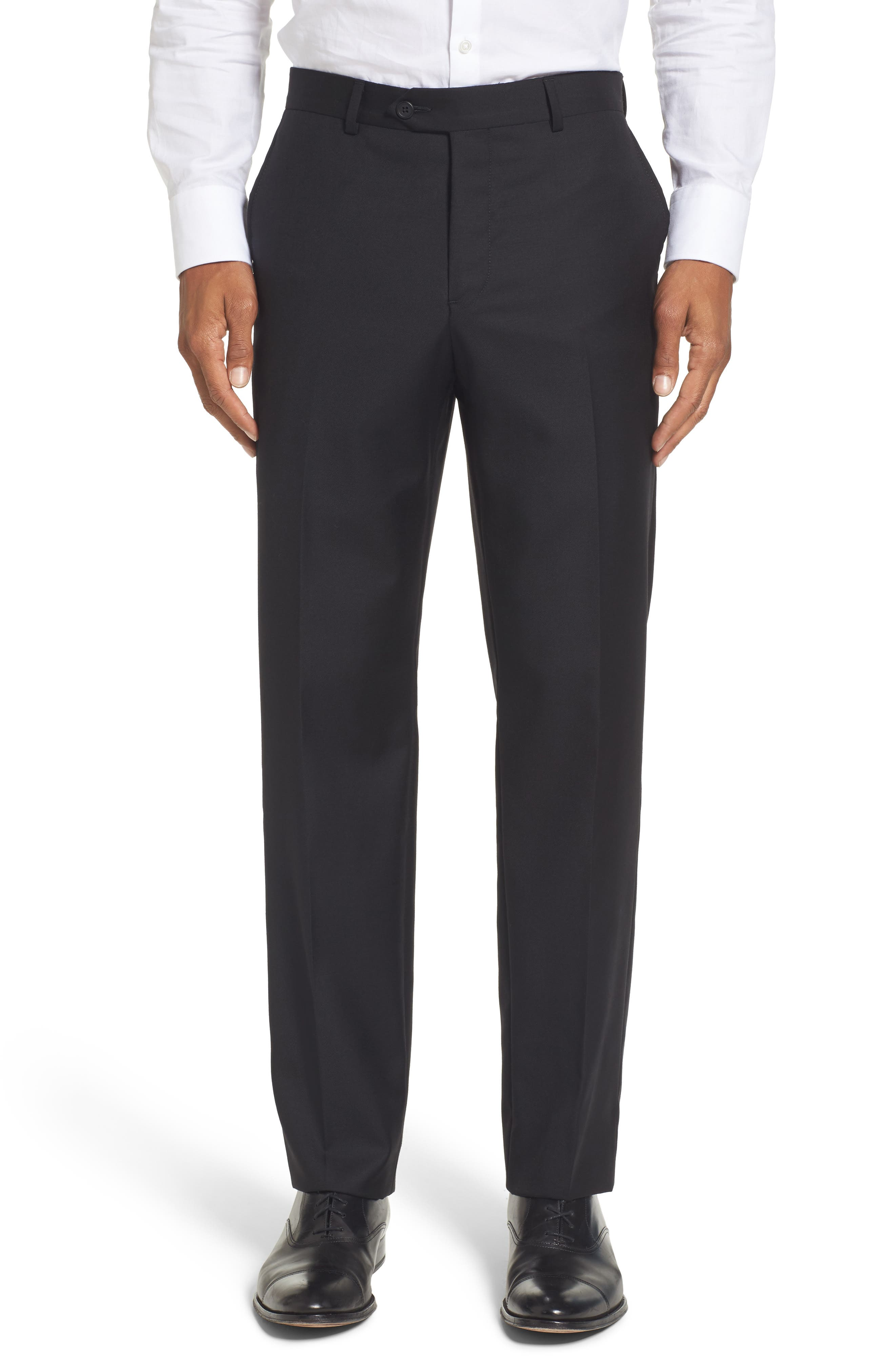 Flat Front Solid Wool Trousers,                             Main thumbnail 1, color,                             001