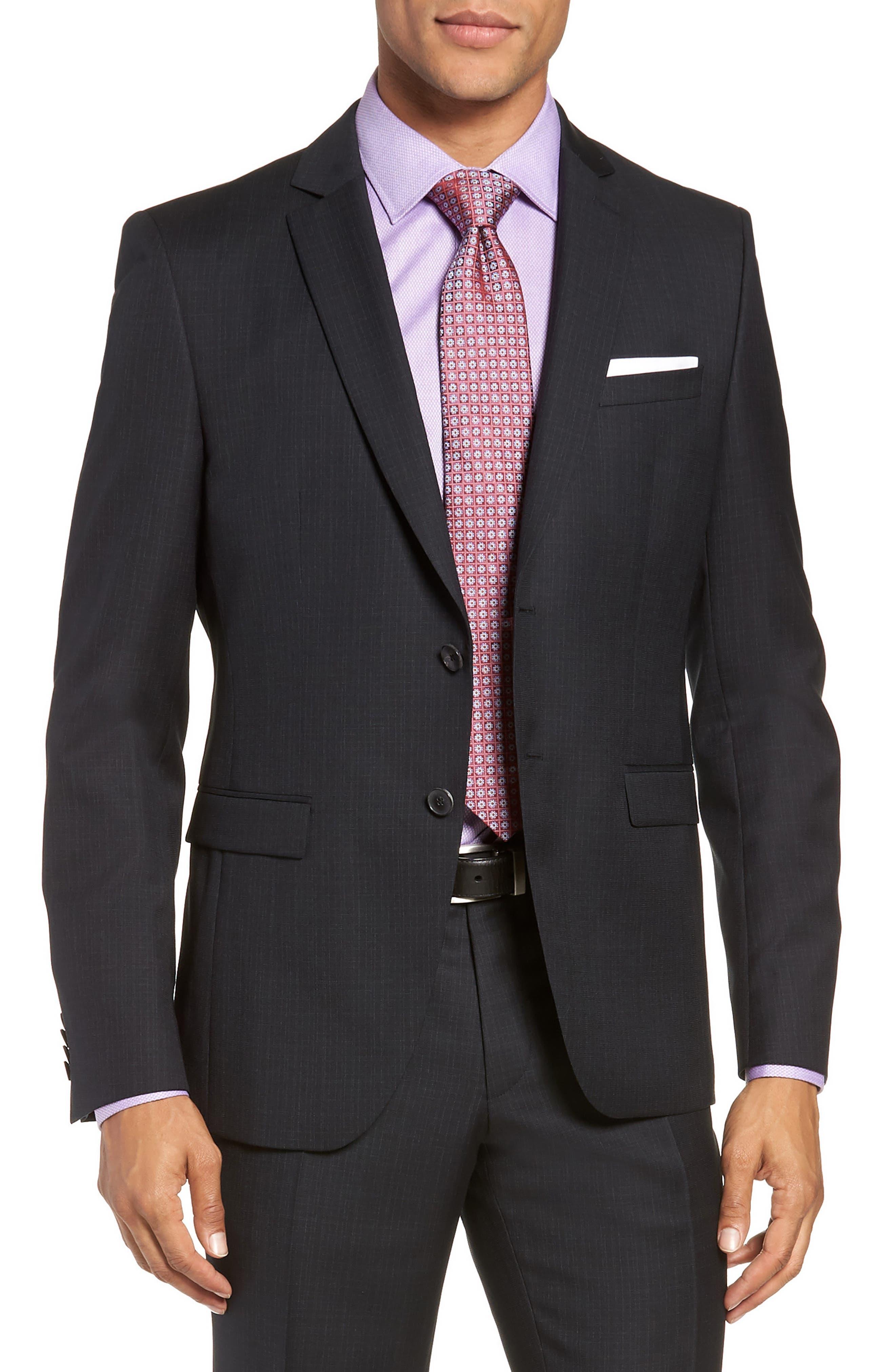 Reymond/Wenten Extra Trim Fit Check Wool Suit,                             Alternate thumbnail 5, color,                             BLACK