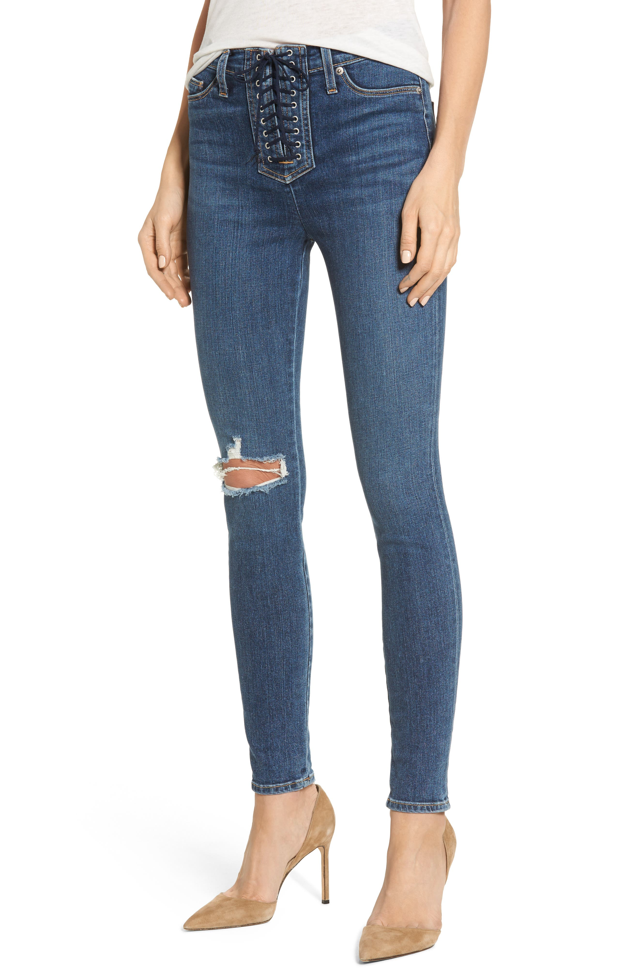 Bullocks Lace-Up High Waist Super Skinny Jeans,                         Main,                         color, 421