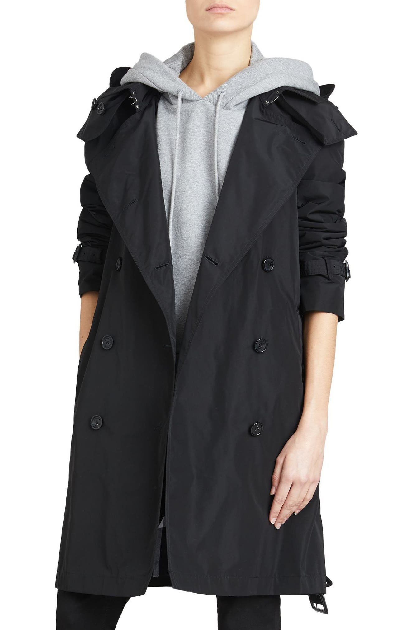 Amberford Taffeta Trench Coat with Detachable Hood,                             Alternate thumbnail 3, color,                             BLACK