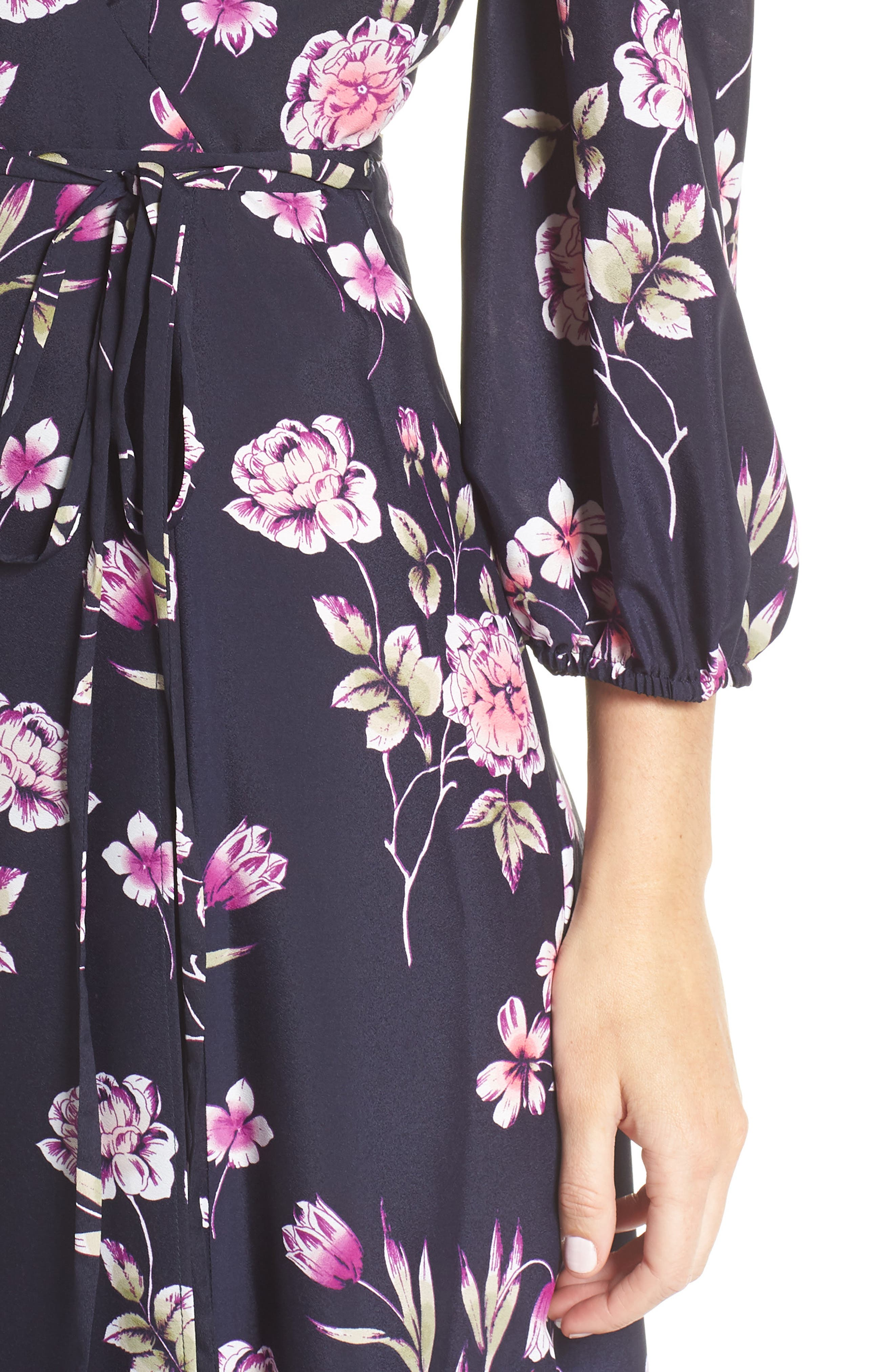 Floral Print Wrap Dress,                             Alternate thumbnail 4, color,                             NAVY