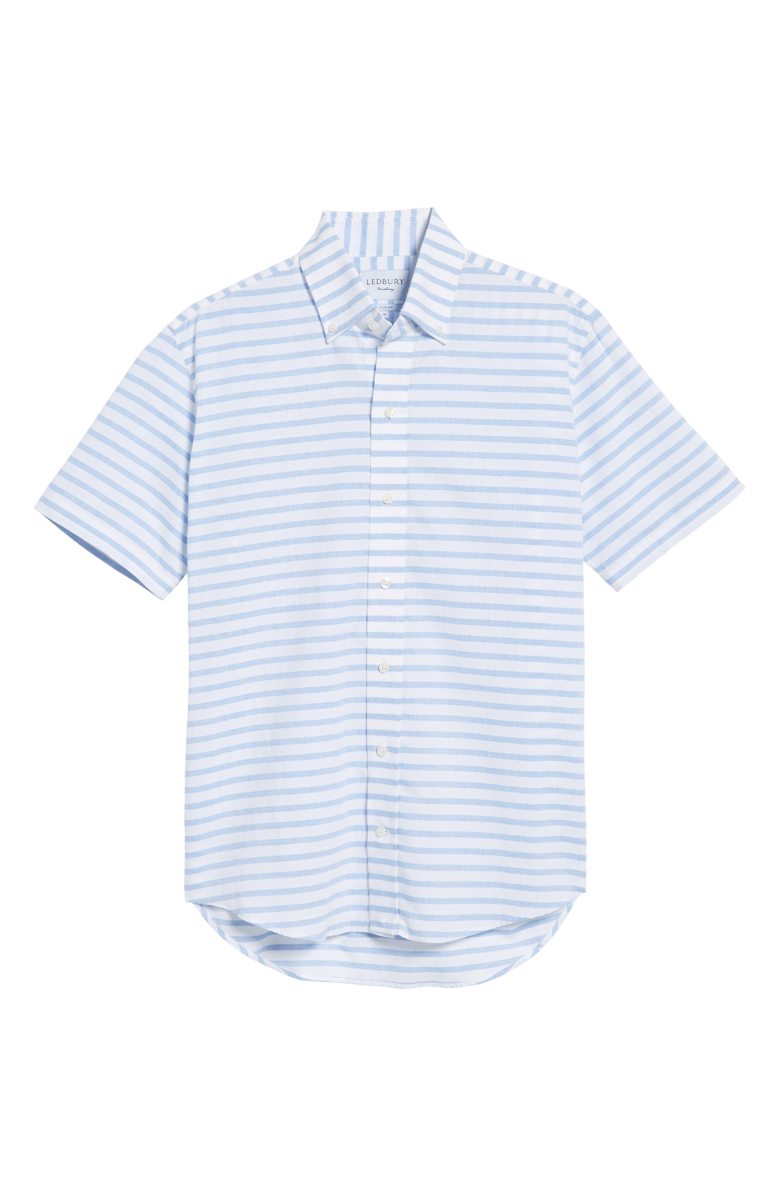 Gunnin Stripe Slim Fit Cotton & Linen Sport Shirt,                             Alternate thumbnail 6, color,                             400