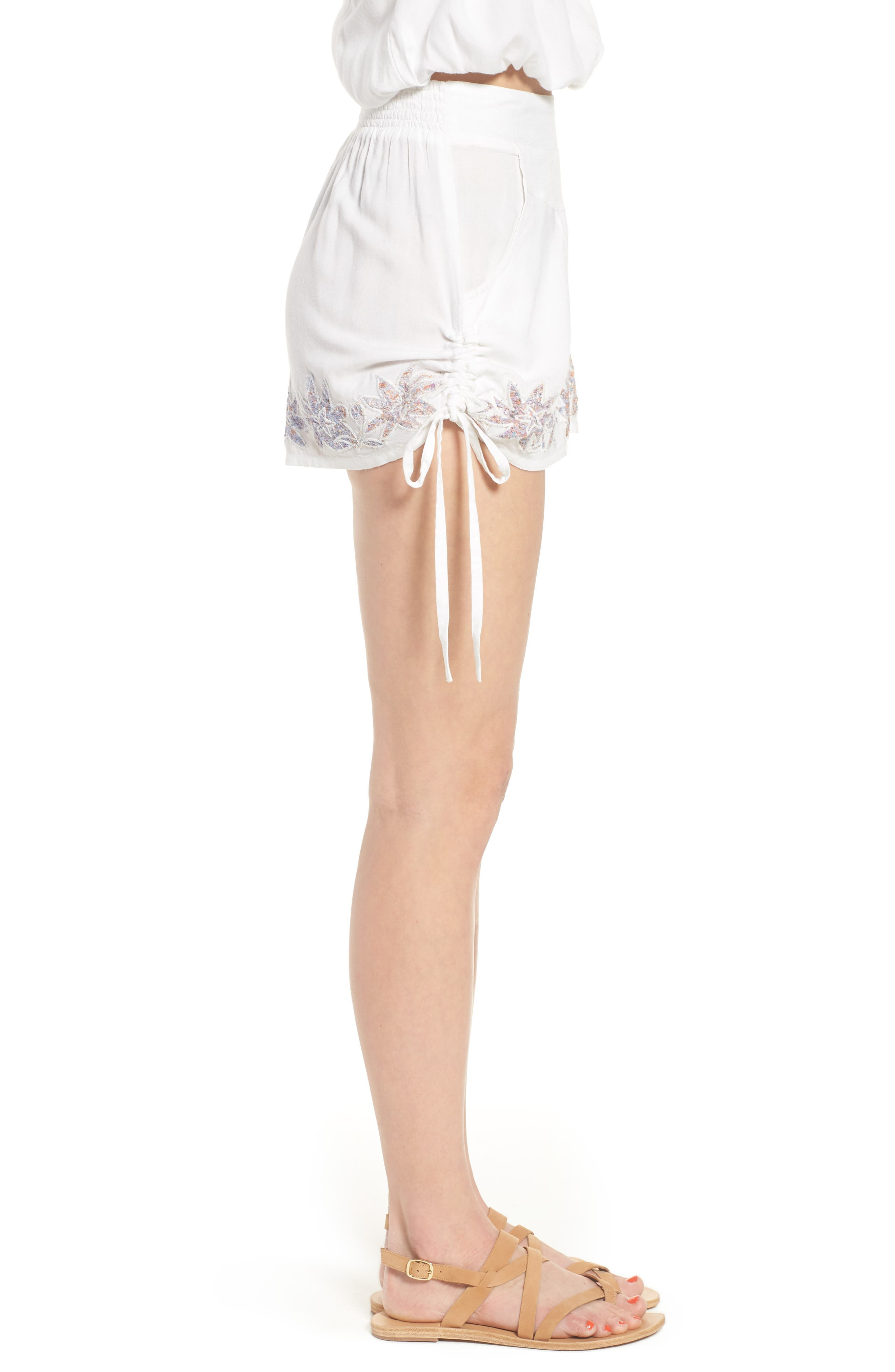 Lotus Love Side Tie Shorts,                             Alternate thumbnail 3, color,                             100