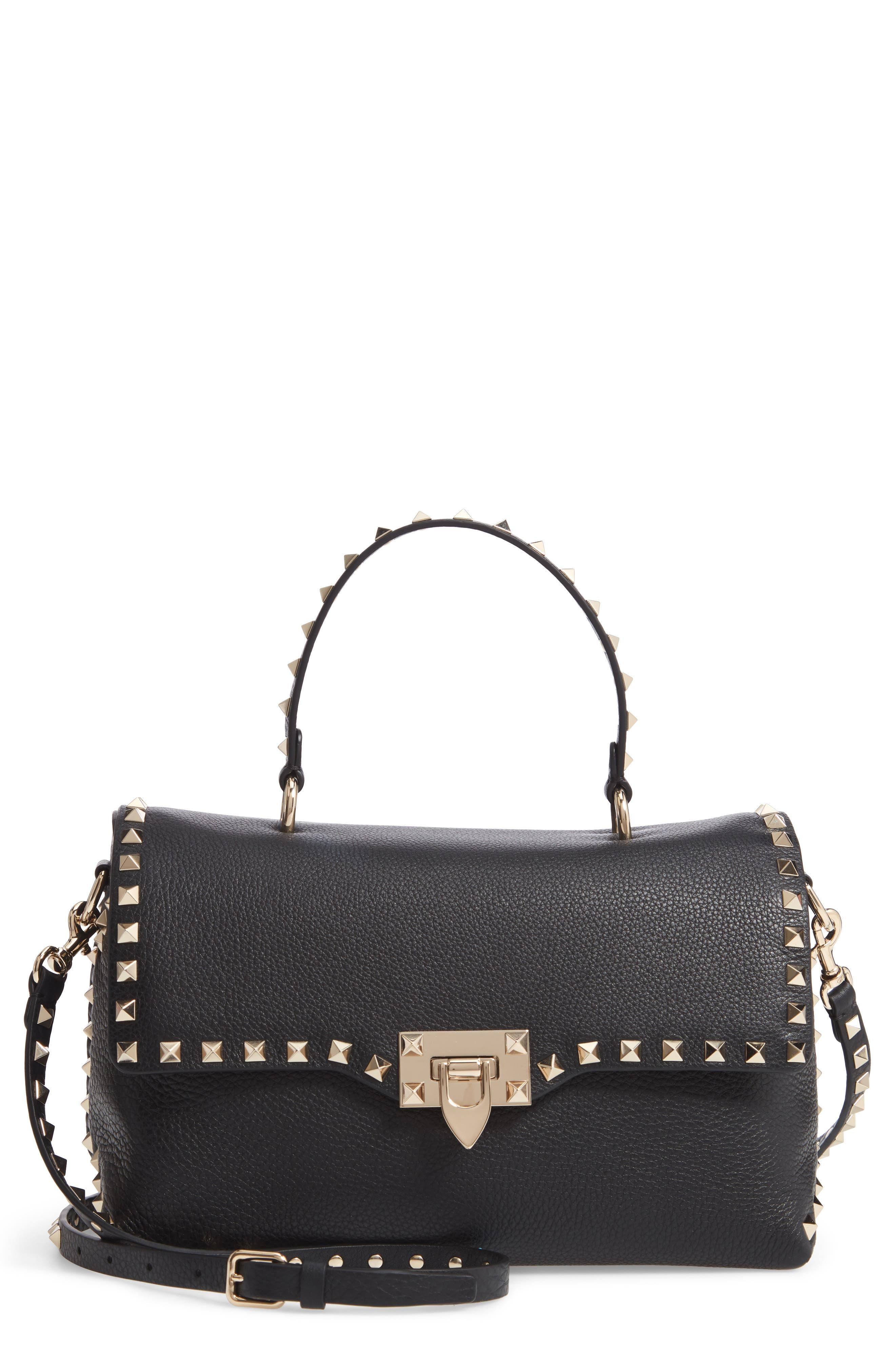 Rockstud Leather Top Handle Bag,                             Main thumbnail 1, color,                             NERO