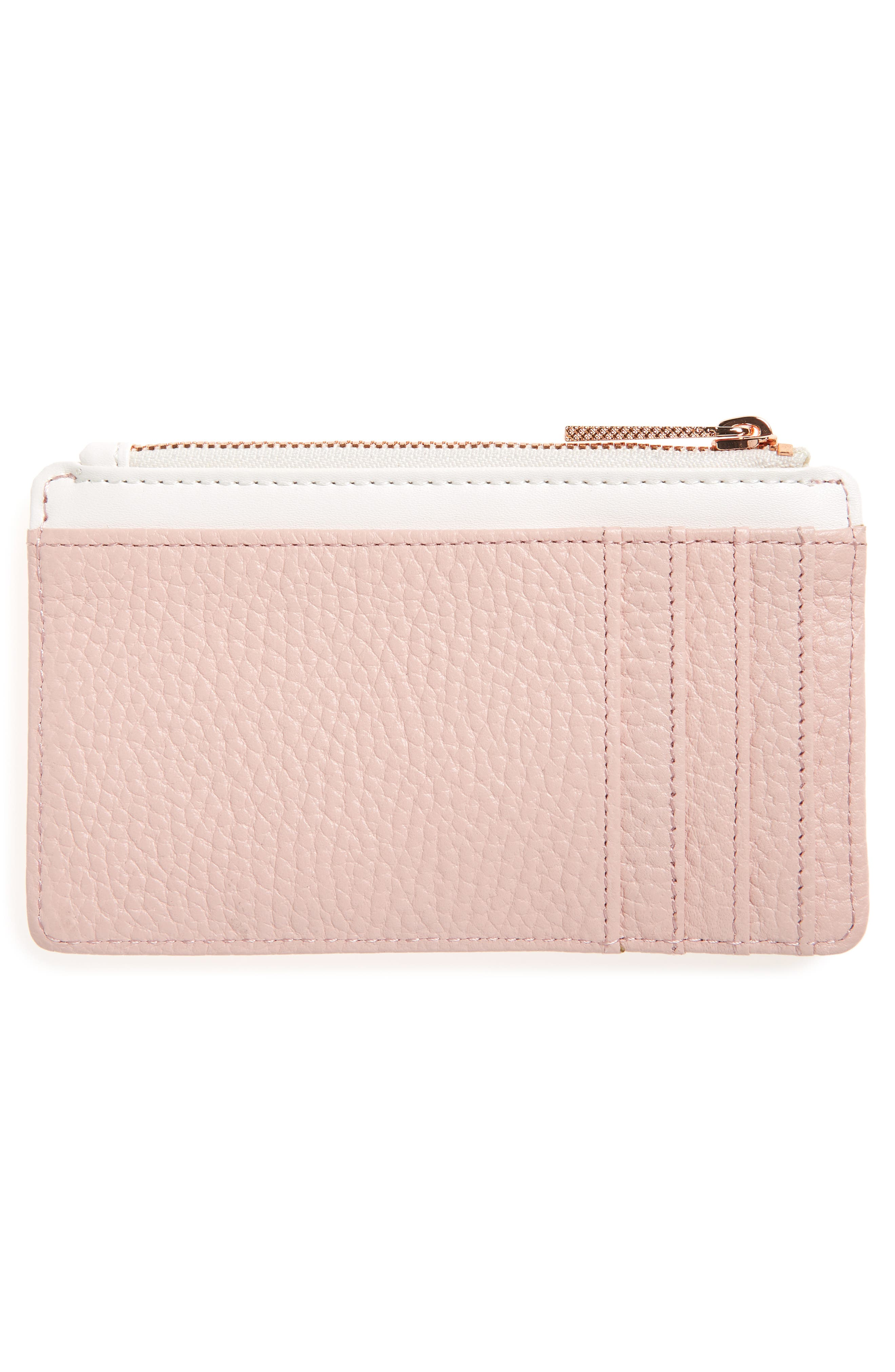 Zip Leather Card Holder,                             Alternate thumbnail 2, color,                             LIGHT PINK