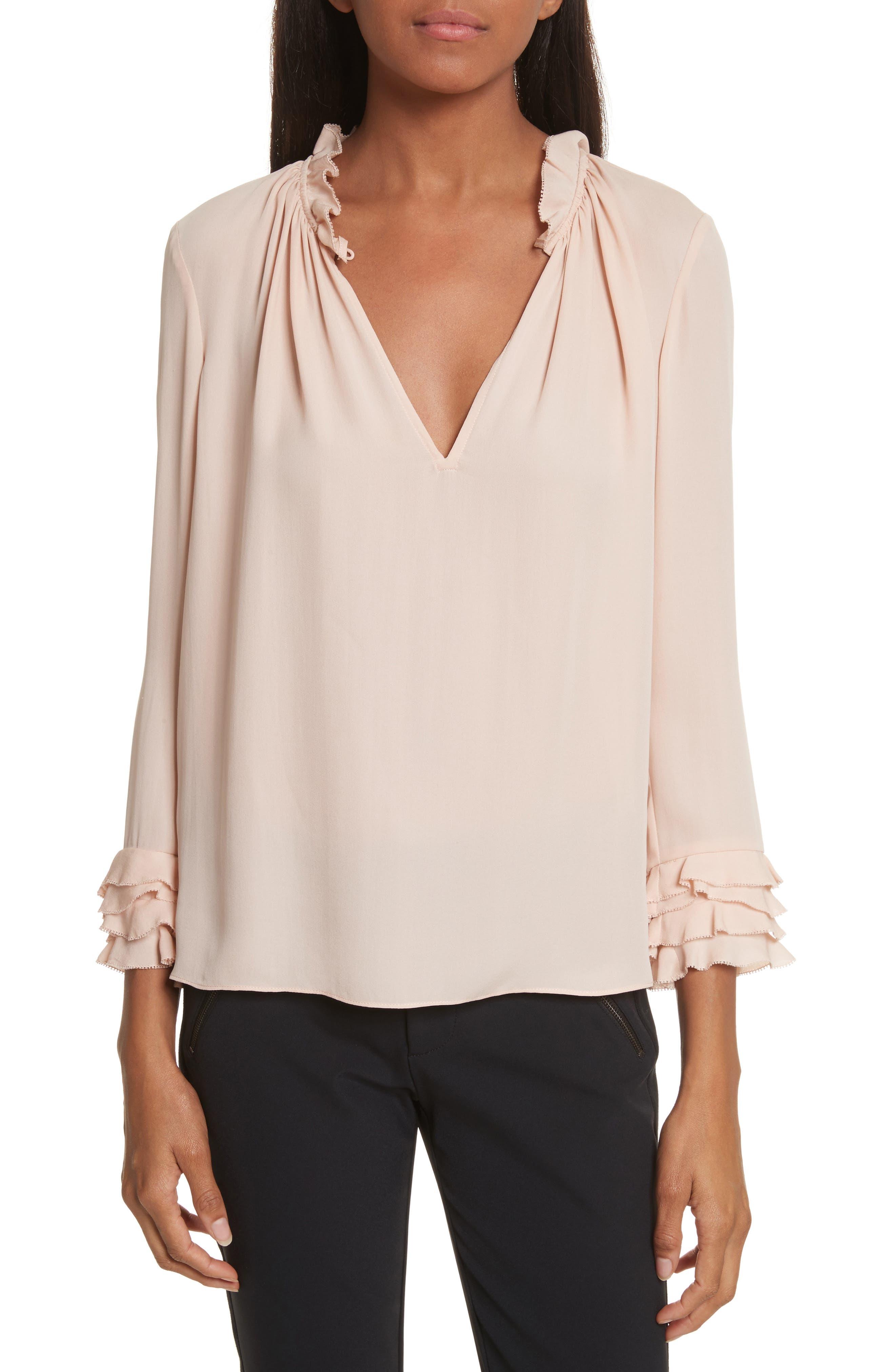 Long Sleeve Ruffle Silk Blouse,                         Main,                         color, 696