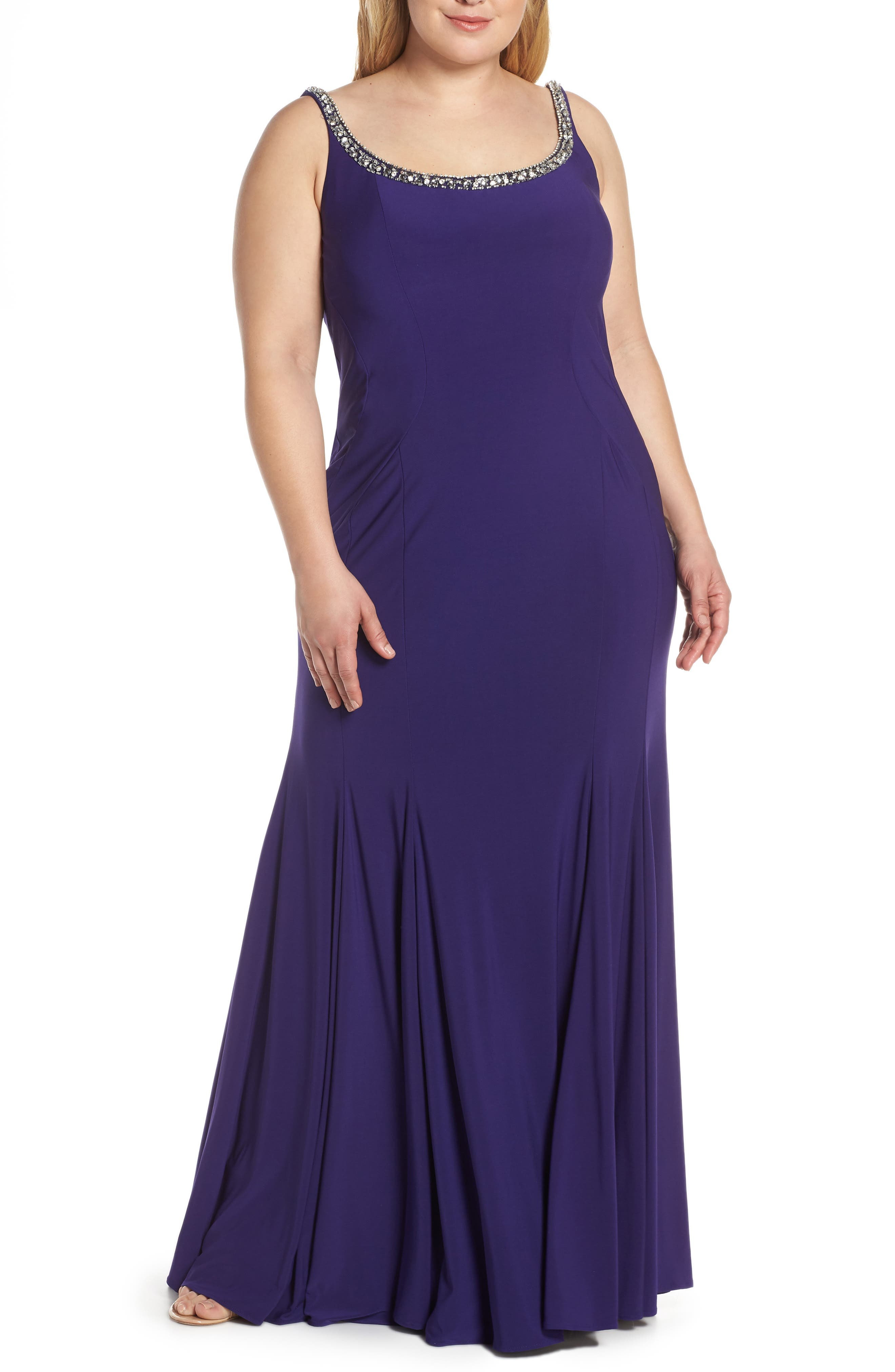 Plus Size MAC Duggal Jeweled Neck Lace-Up Back Jersey Gown, Purple