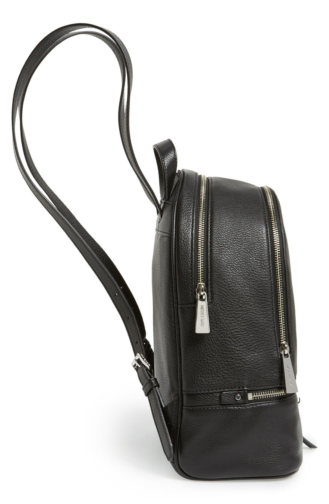 'Small Rhea Zip' Leather Backpack,                             Alternate thumbnail 3, color,                             001
