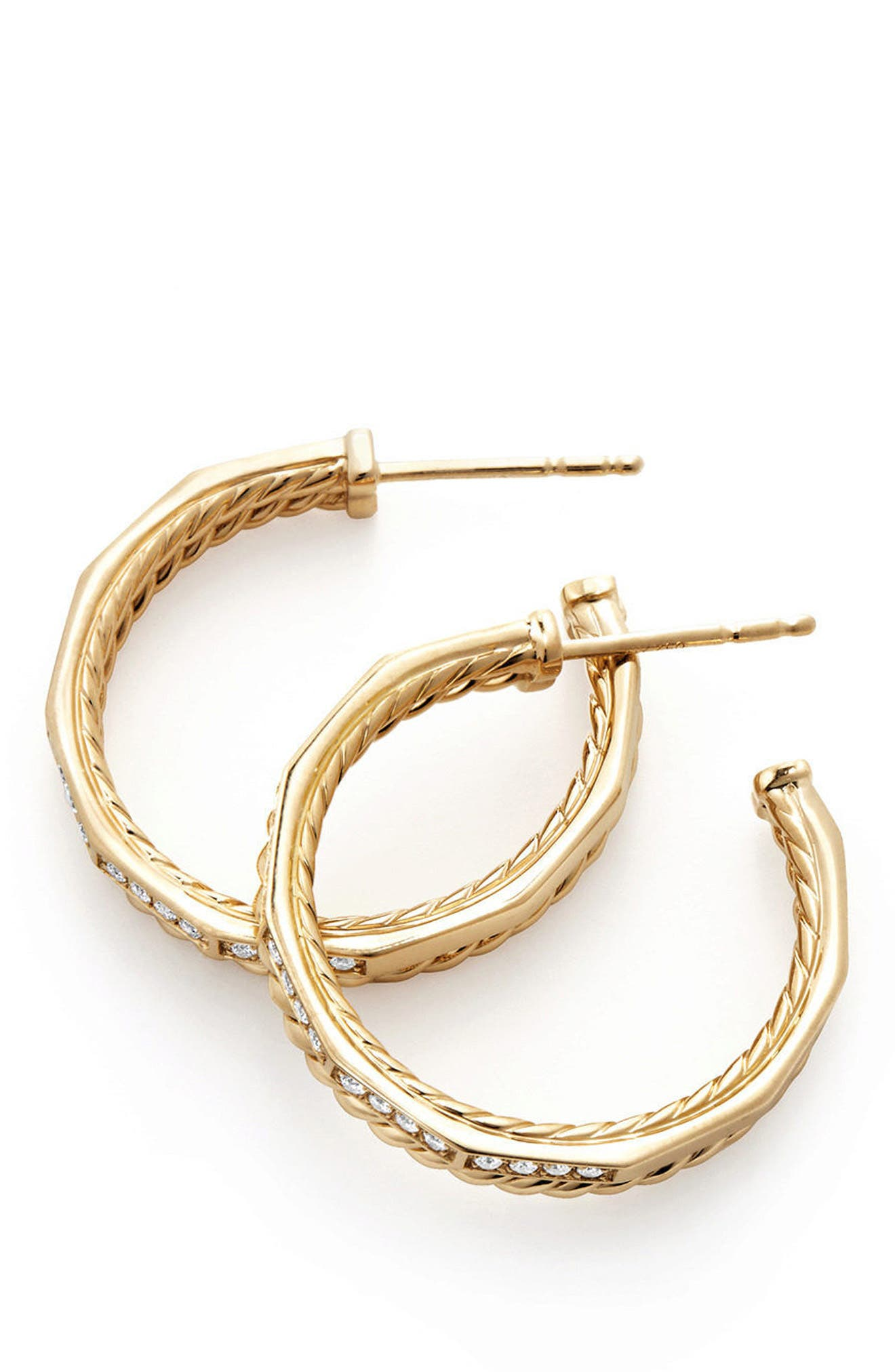 Stax Hoop Earrings with Diamonds in 18k Gold,                             Alternate thumbnail 2, color,                             YELLOW GOLD