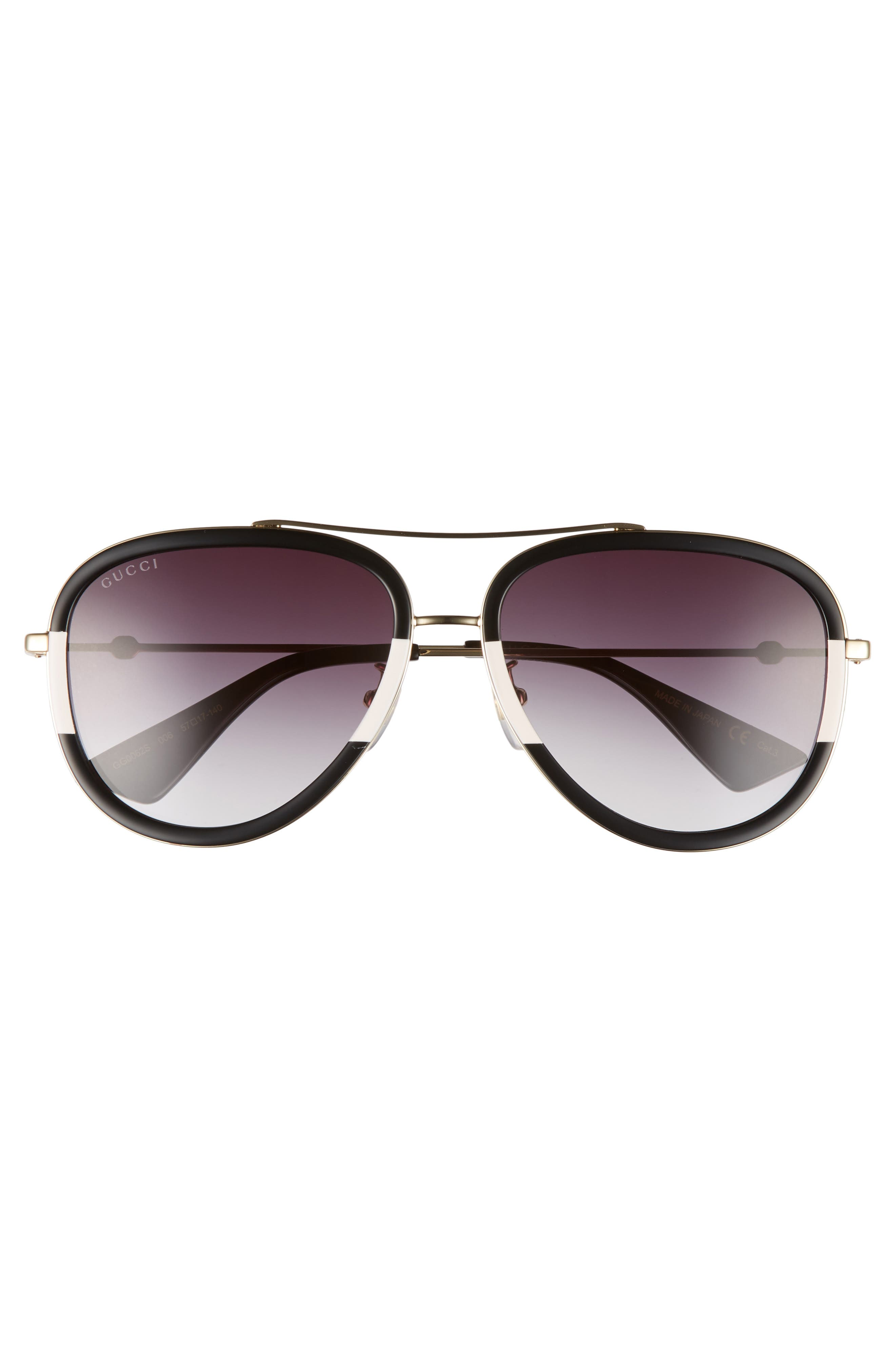 Web Block 57mm Leather Aviator Sunglasses,                             Alternate thumbnail 2, color,                             715