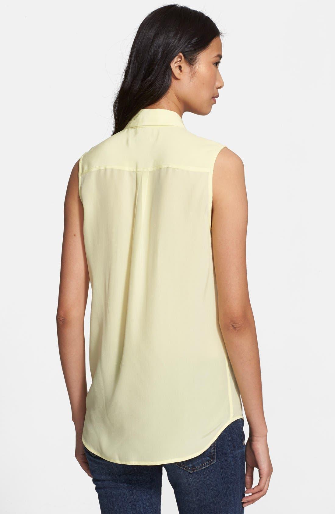 'Slim Signature' Sleeveless Silk Shirt,                             Alternate thumbnail 141, color,