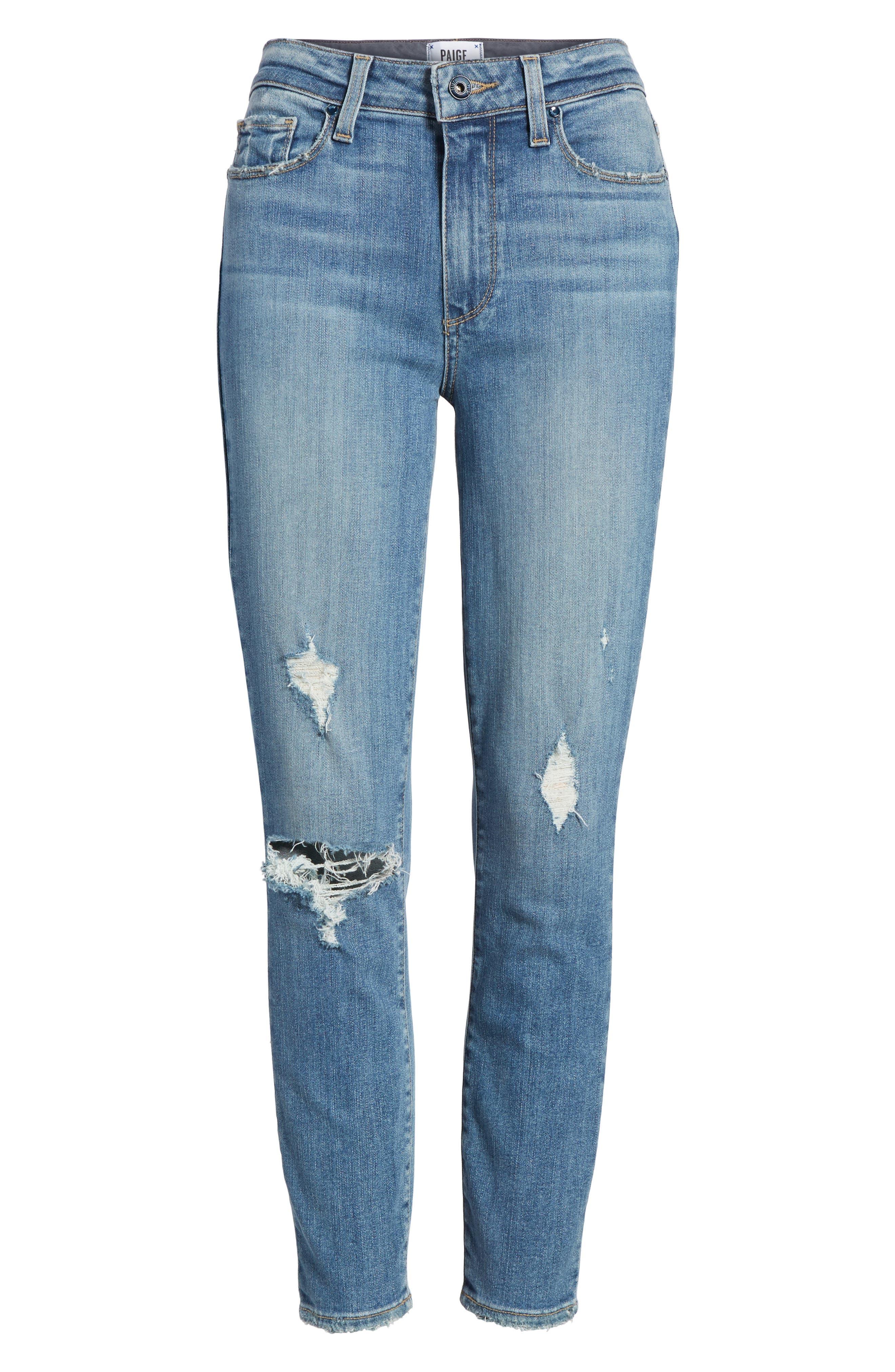 Transcend Vintage - Hoxton High Waist Crop Jeans,                             Alternate thumbnail 7, color,                             400