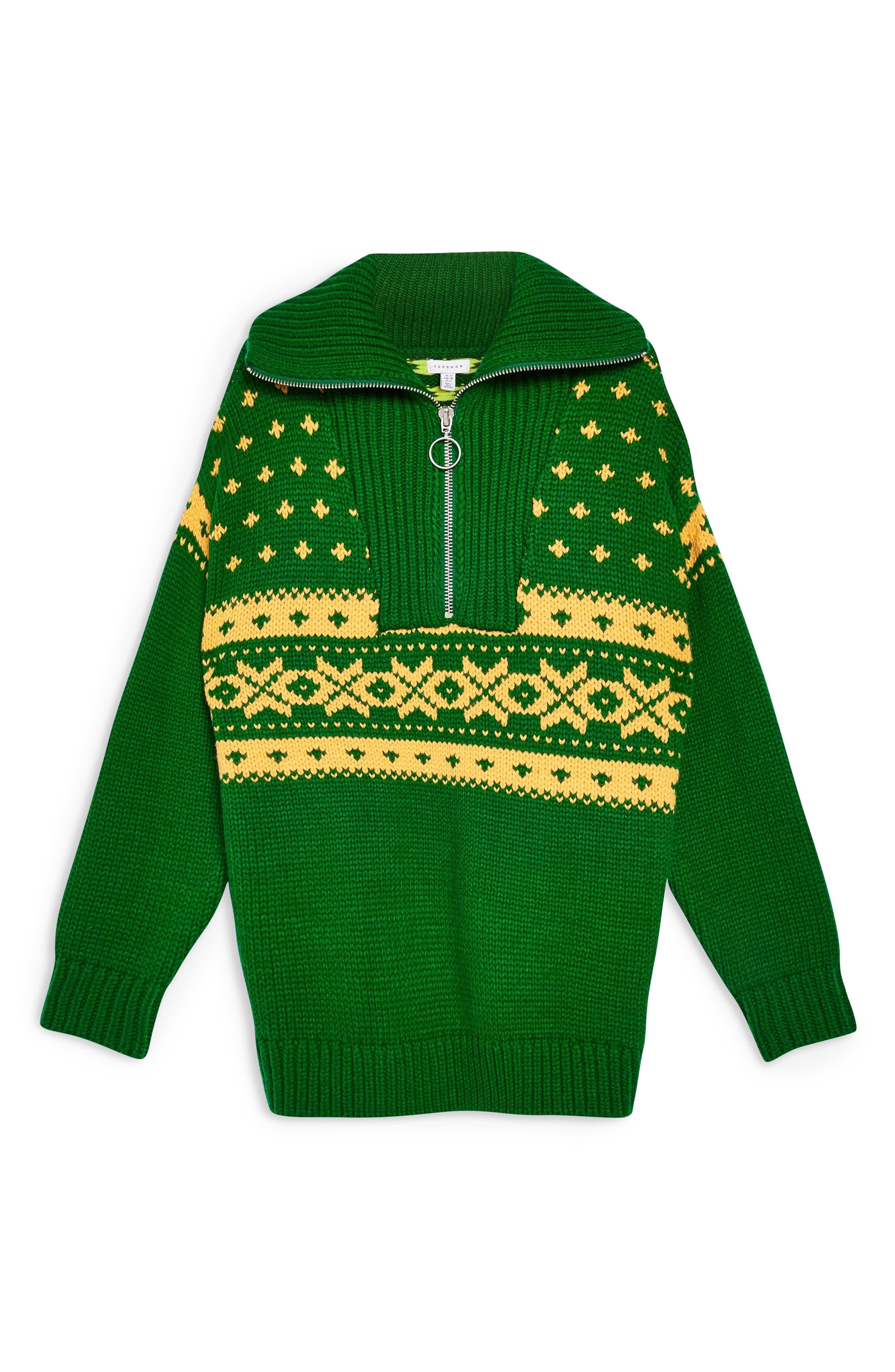 Fair Isle Zip Collar Sweater,                             Alternate thumbnail 4, color,                             GREEN MULTI