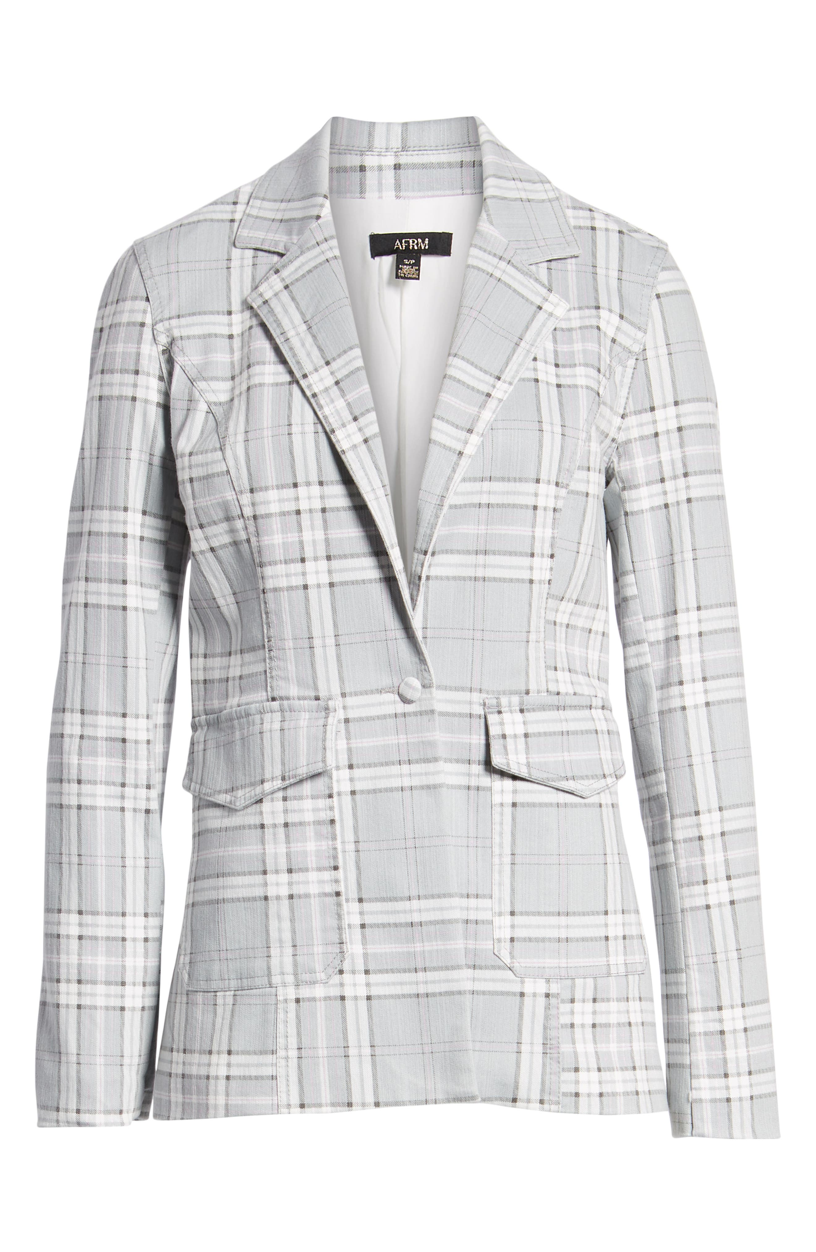 Lila Plaid Blazer,                             Alternate thumbnail 5, color,                             SOFT GREY PLAID