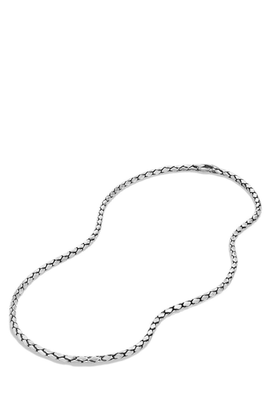 'Chain' Small Fluted Chain Necklace, 3.8mm,                             Alternate thumbnail 3, color,                             SILVER