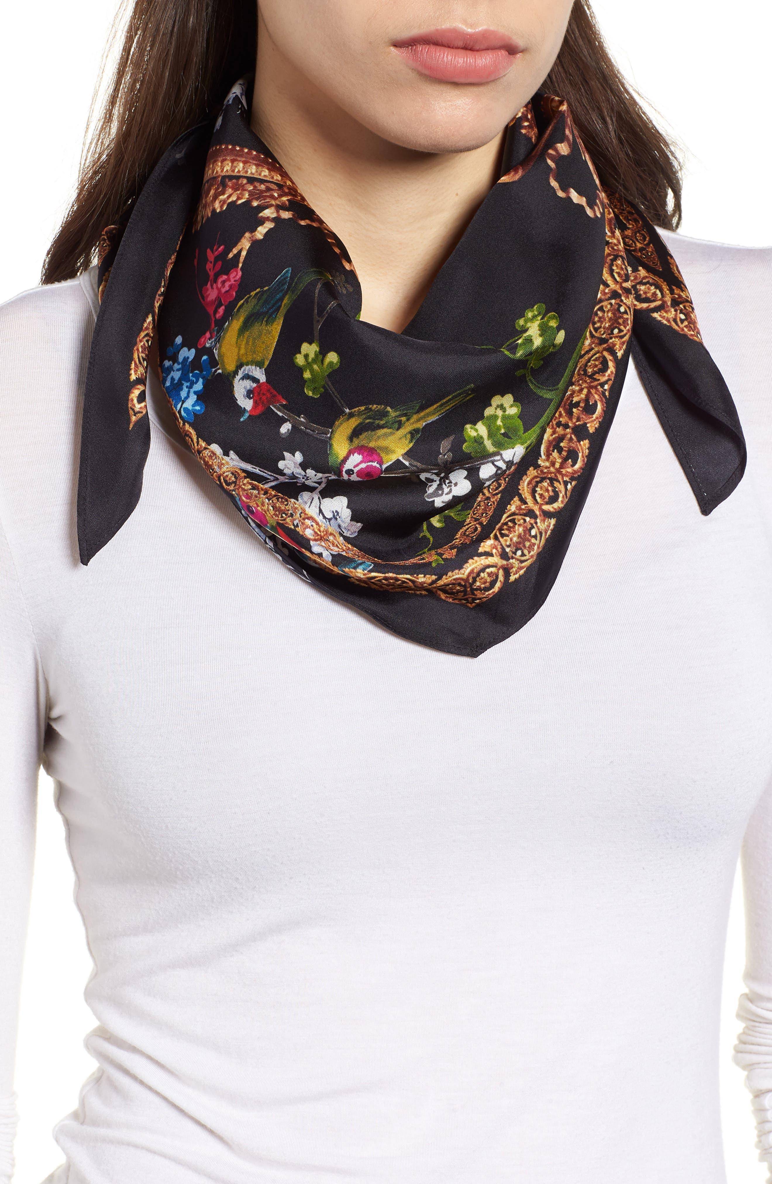 Opulent Fauna Kite Silk Scarf,                         Main,                         color, BLACK
