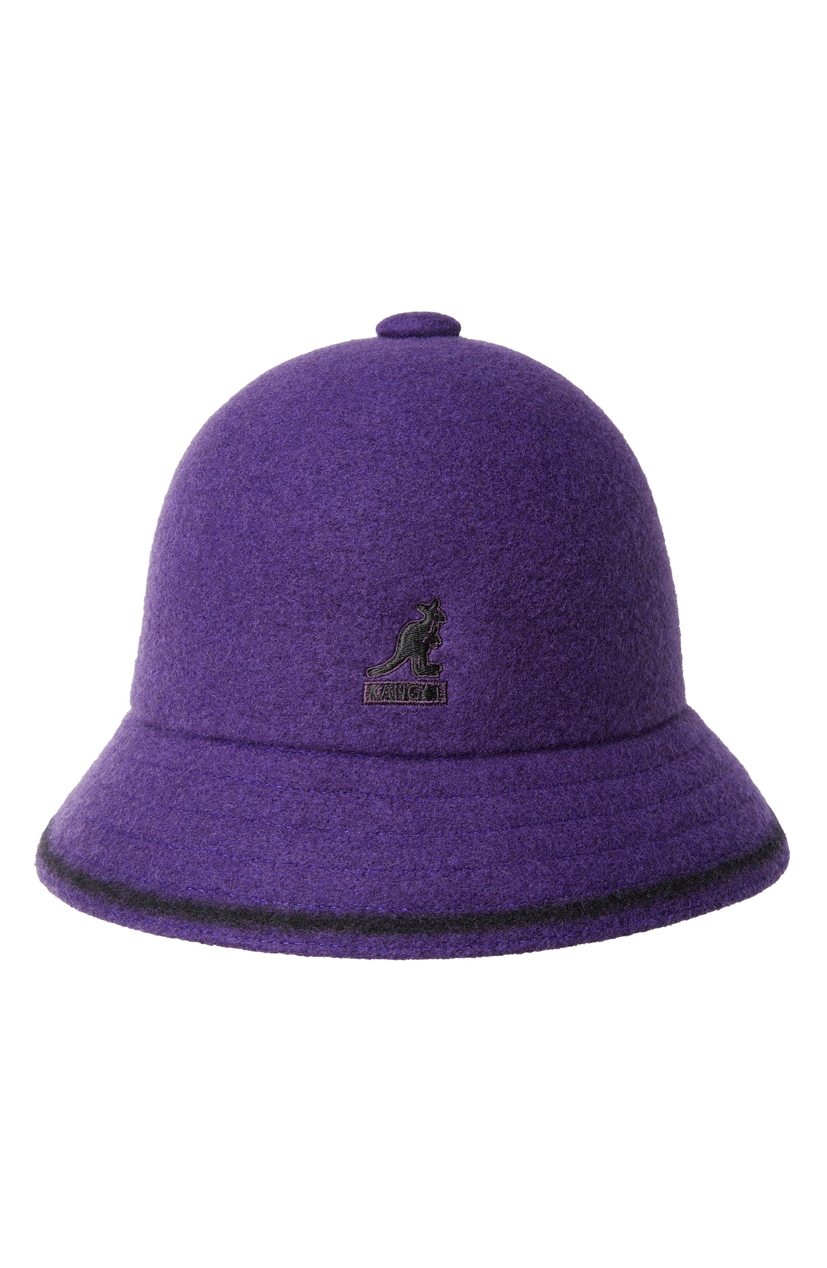 KANGOL Cloche Hat - Purple in Velvet/ Black