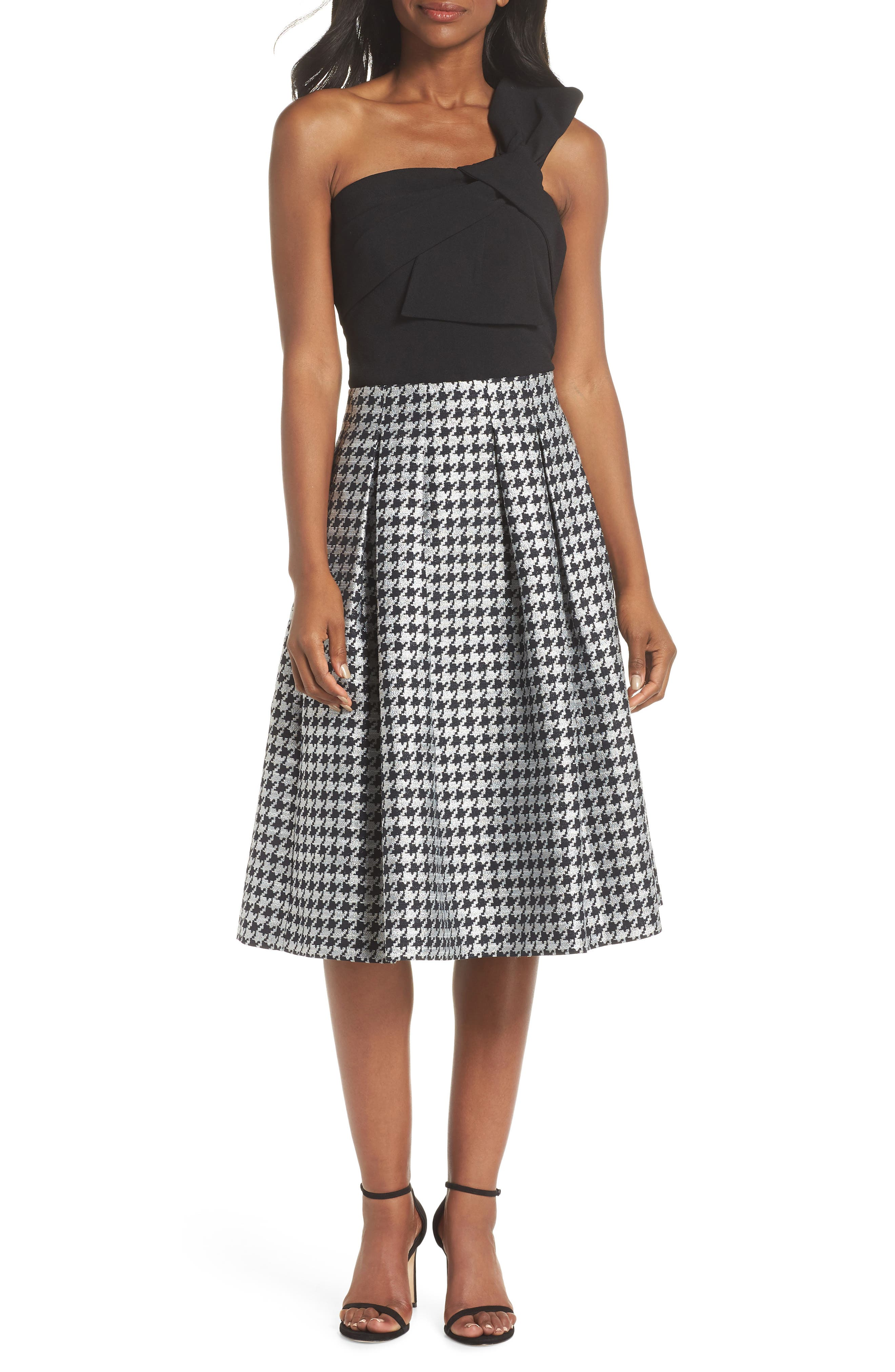 Houndstooth Pleated Skirt,                             Alternate thumbnail 8, color,                             001
