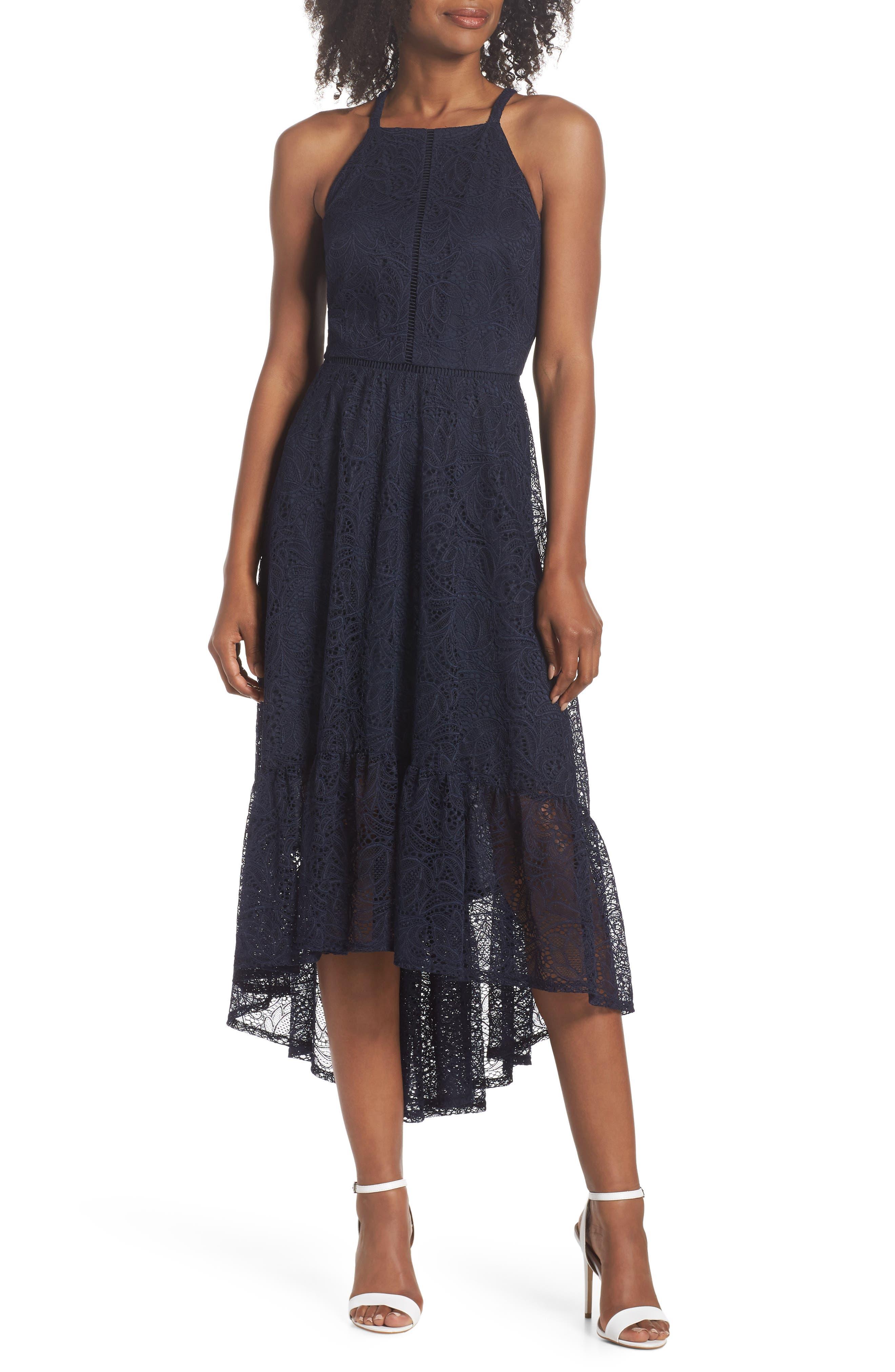 Halter Neck Lace Midi Dress,                             Main thumbnail 1, color,                             NAVY