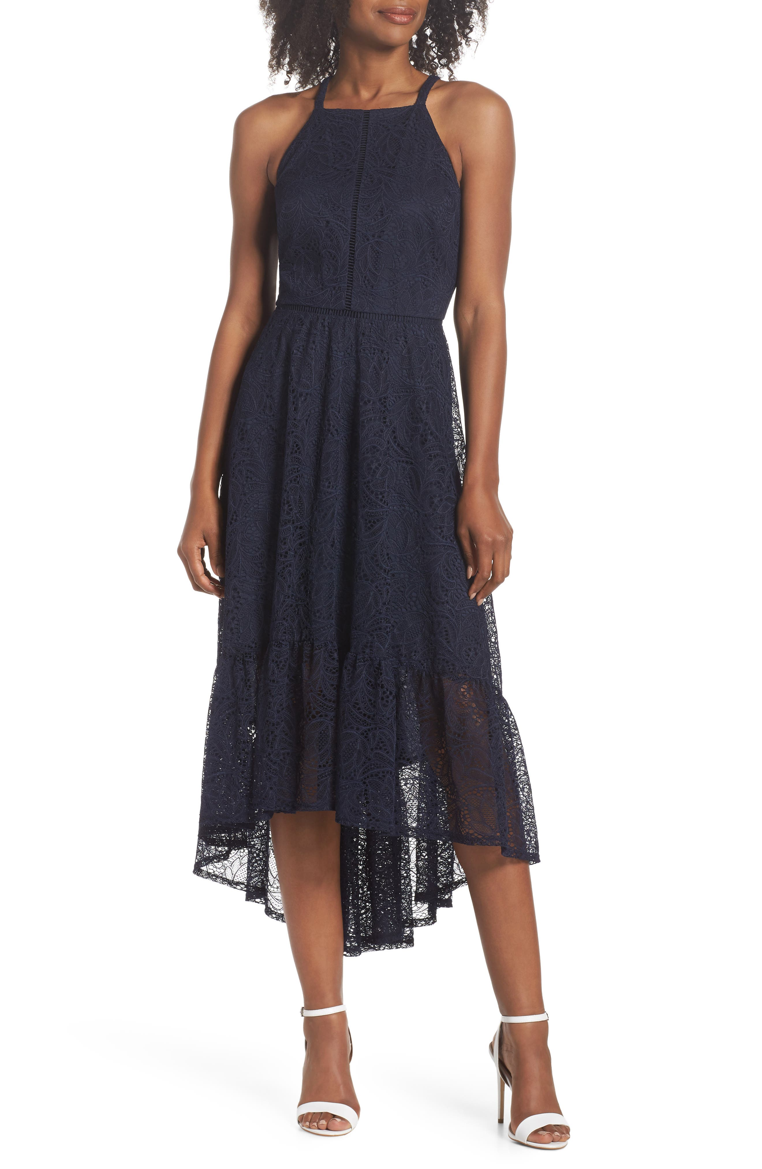 Halter Neck Lace Midi Dress,                         Main,                         color, NAVY