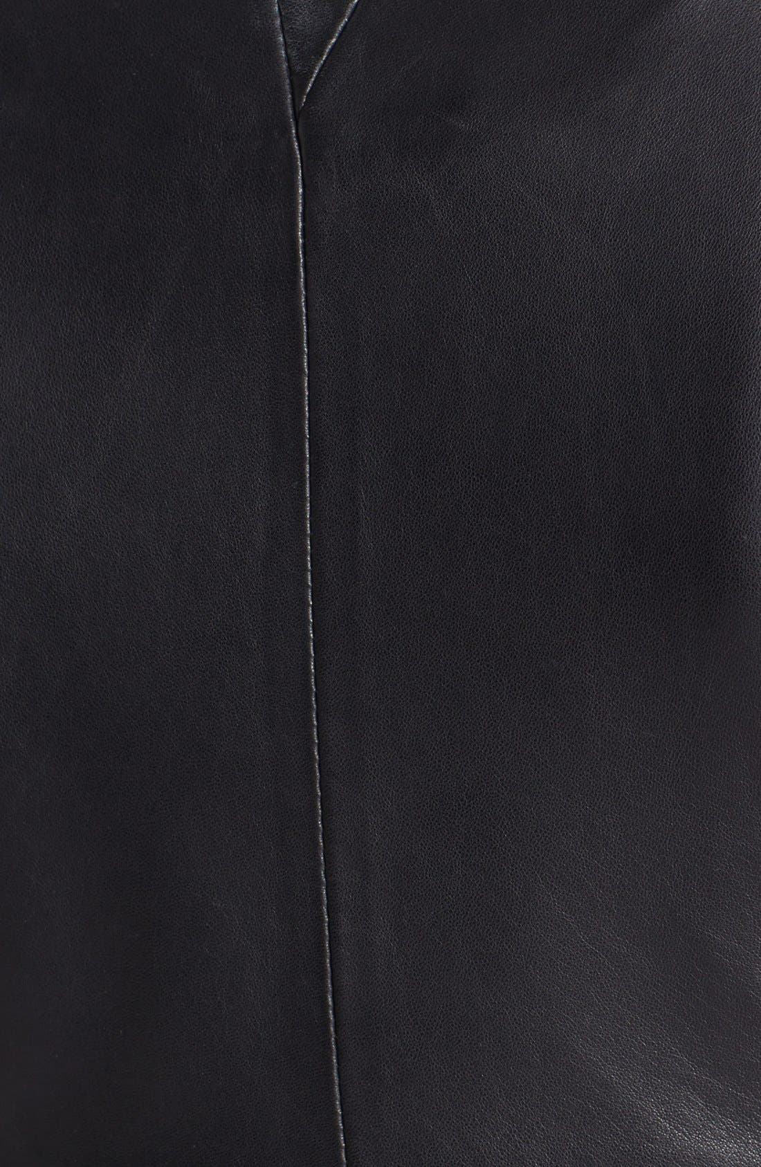 Leather Peplum Jacket,                             Alternate thumbnail 3, color,                             001