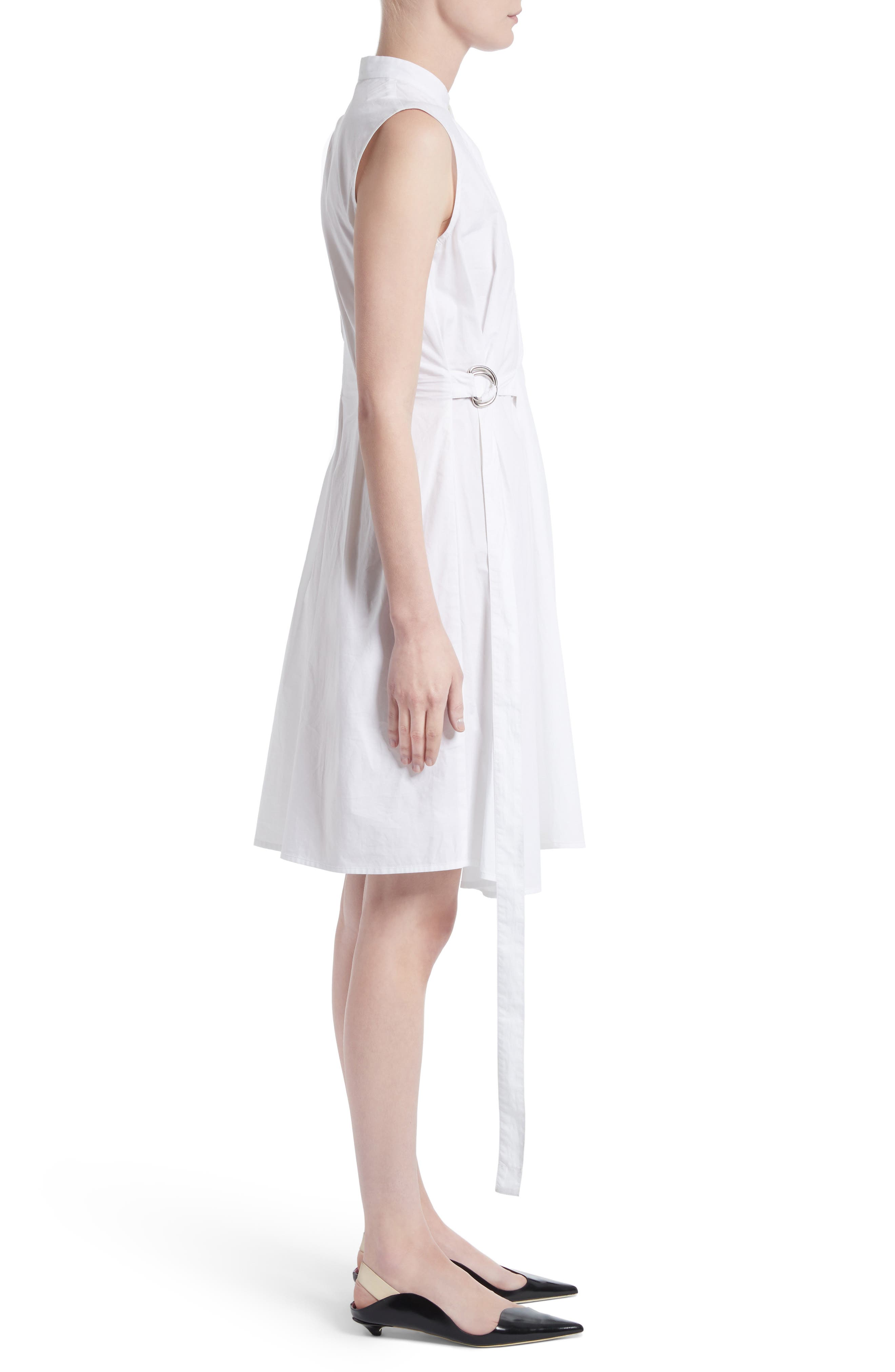 PROENZA SCHOULER,                             Cotton Poplin Wrap Dress,                             Alternate thumbnail 3, color,                             100