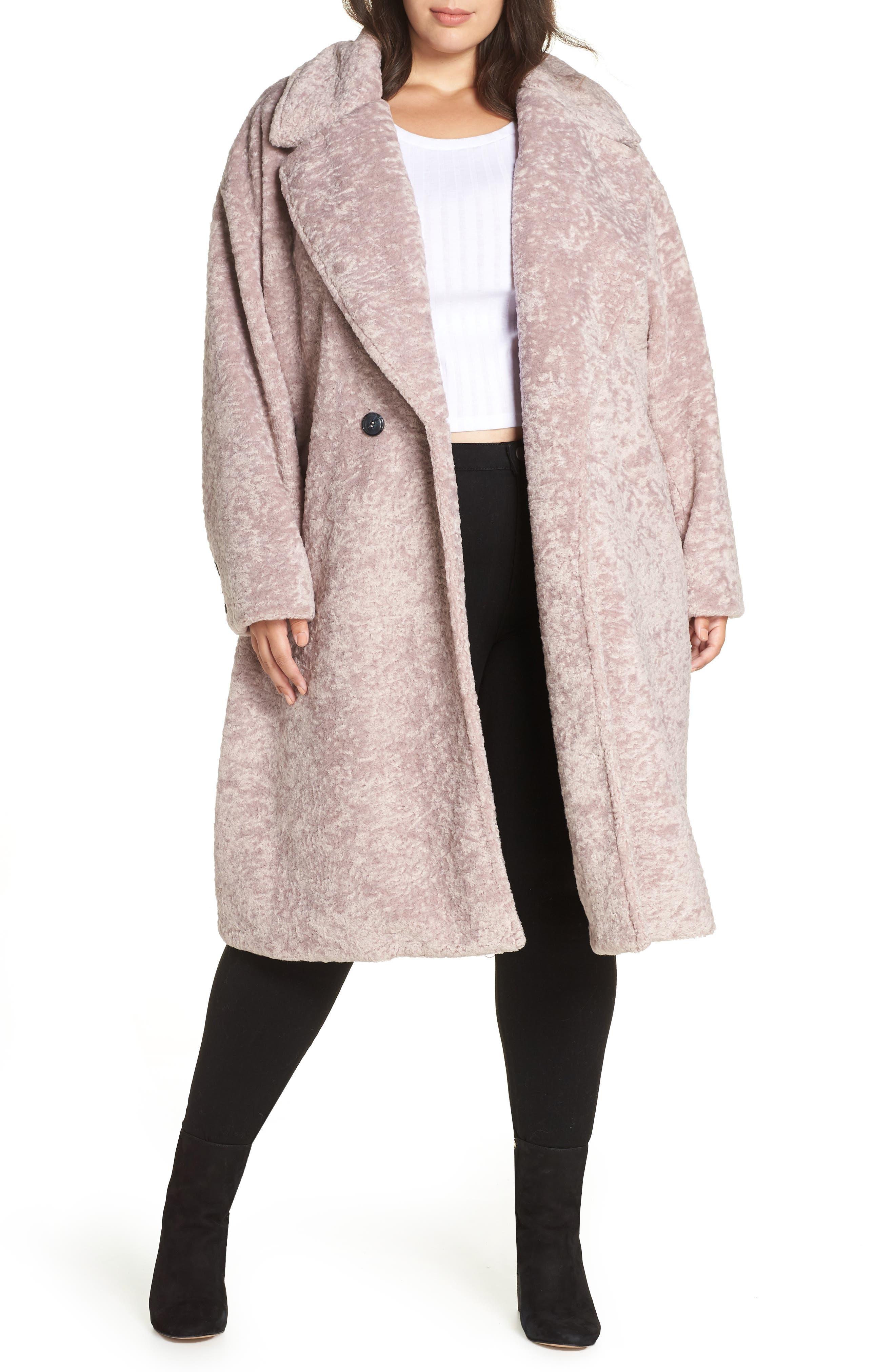 Faux Fur Cocoon Coat, Main, color, MAUVE