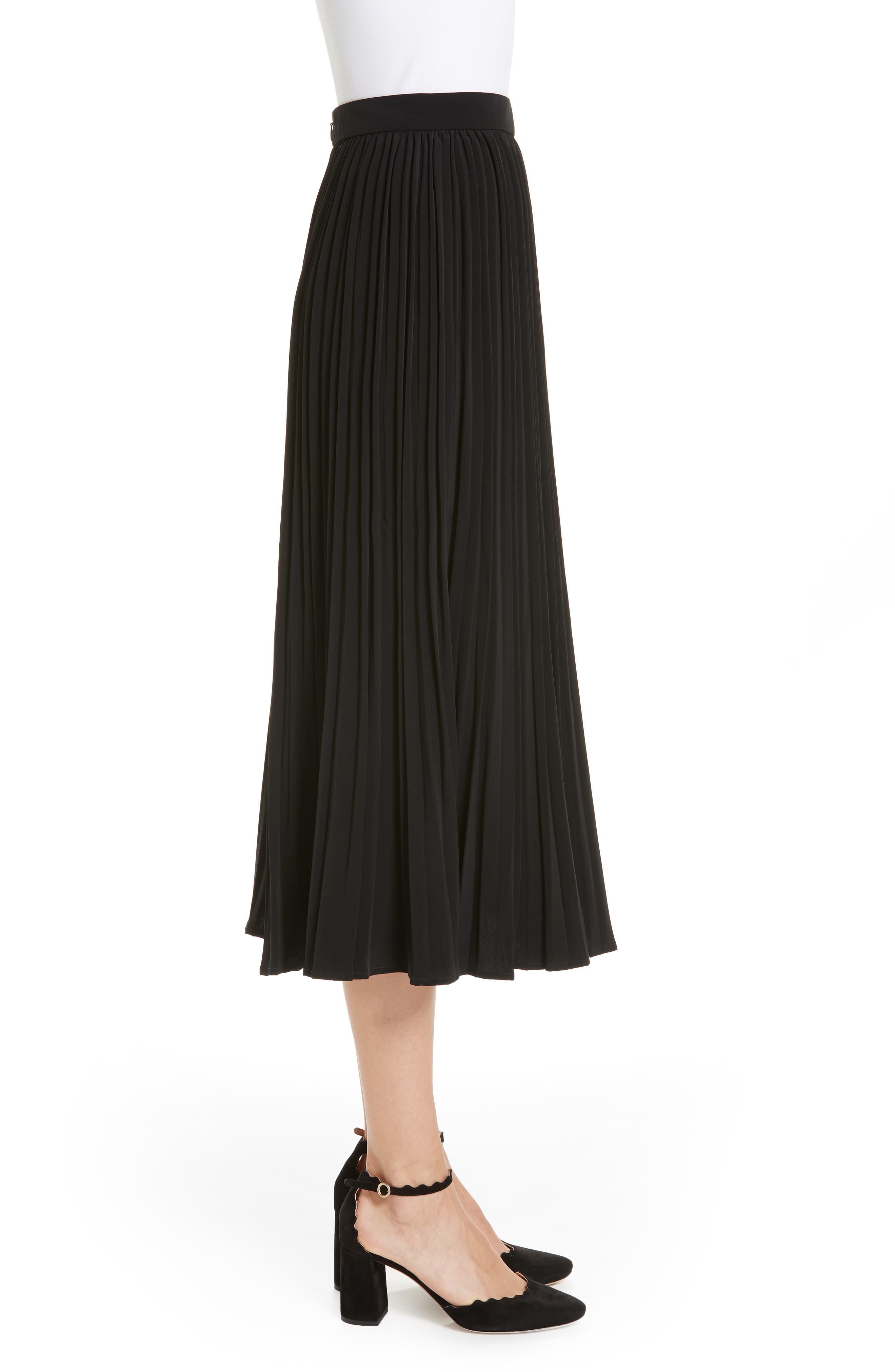 Essentials Pleated Midi Skirt,                             Alternate thumbnail 3, color,                             BLACK