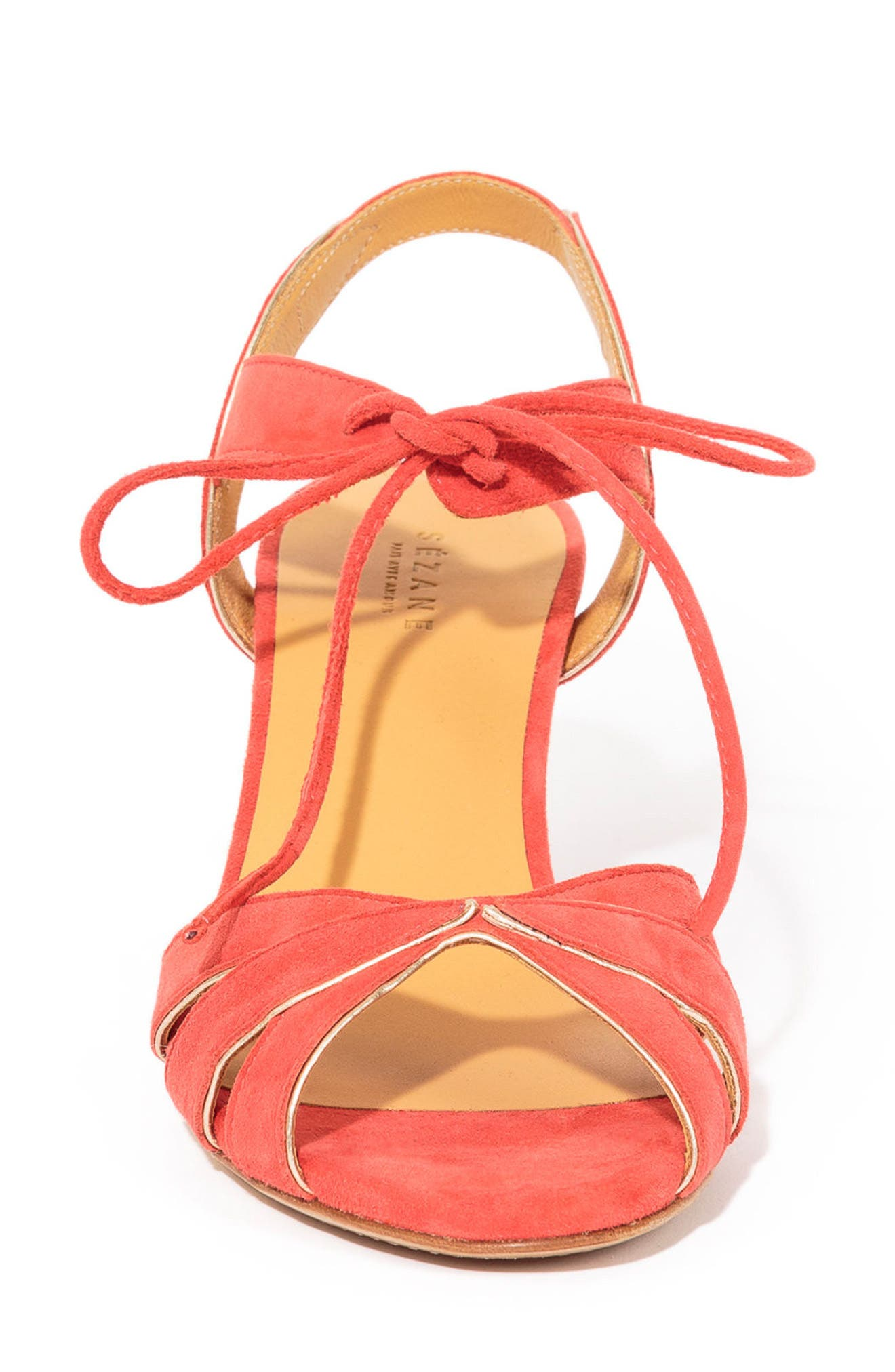 Victoire Ankle Tie Sandal,                             Alternate thumbnail 3, color,                             CORAL RED SUEDE