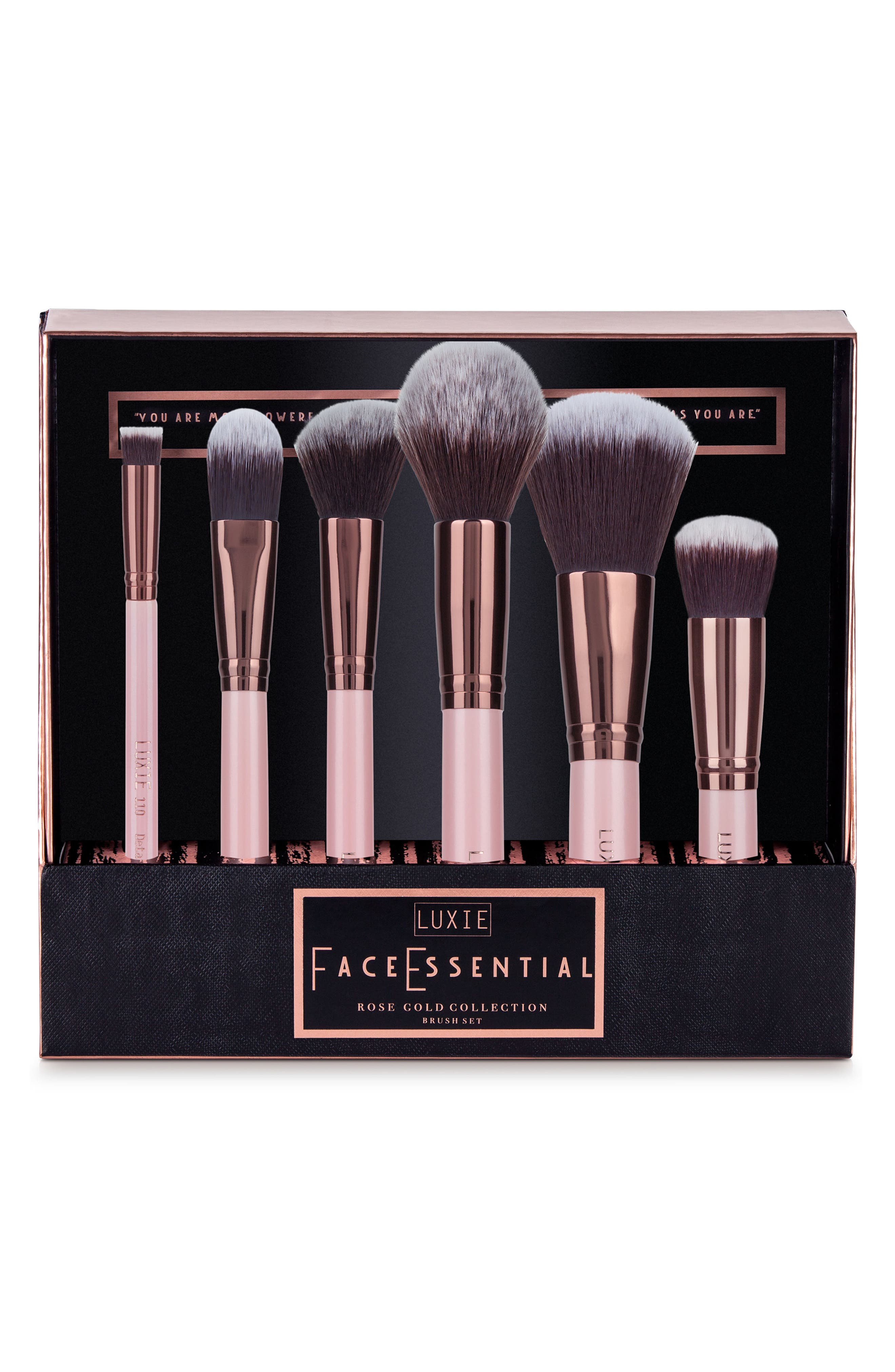 Rose Gold Face Essential Brush Set,                             Main thumbnail 1, color,                             NO COLOR
