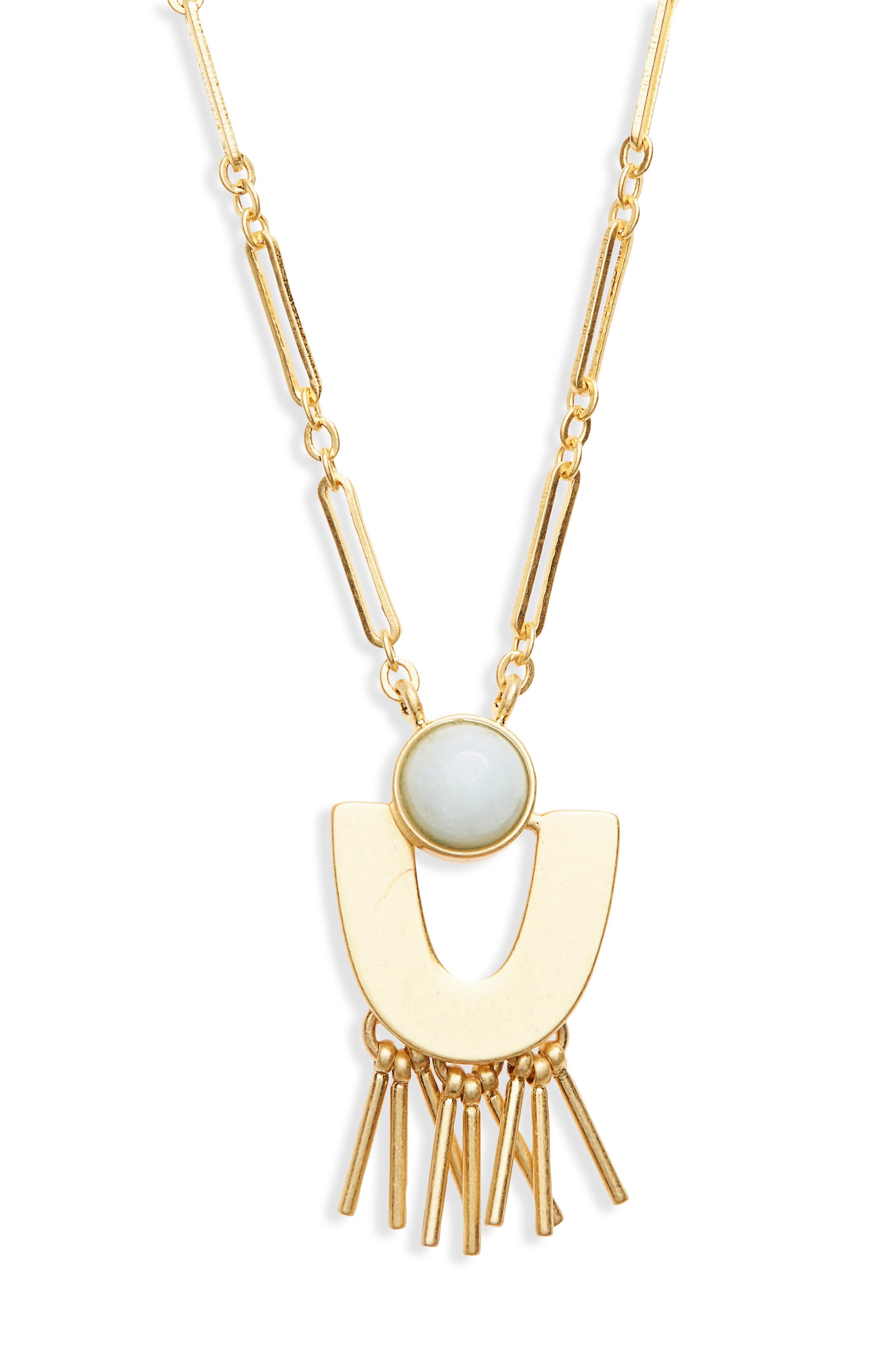 Stone Pendant Necklace,                         Main,                         color, AMAZONITE