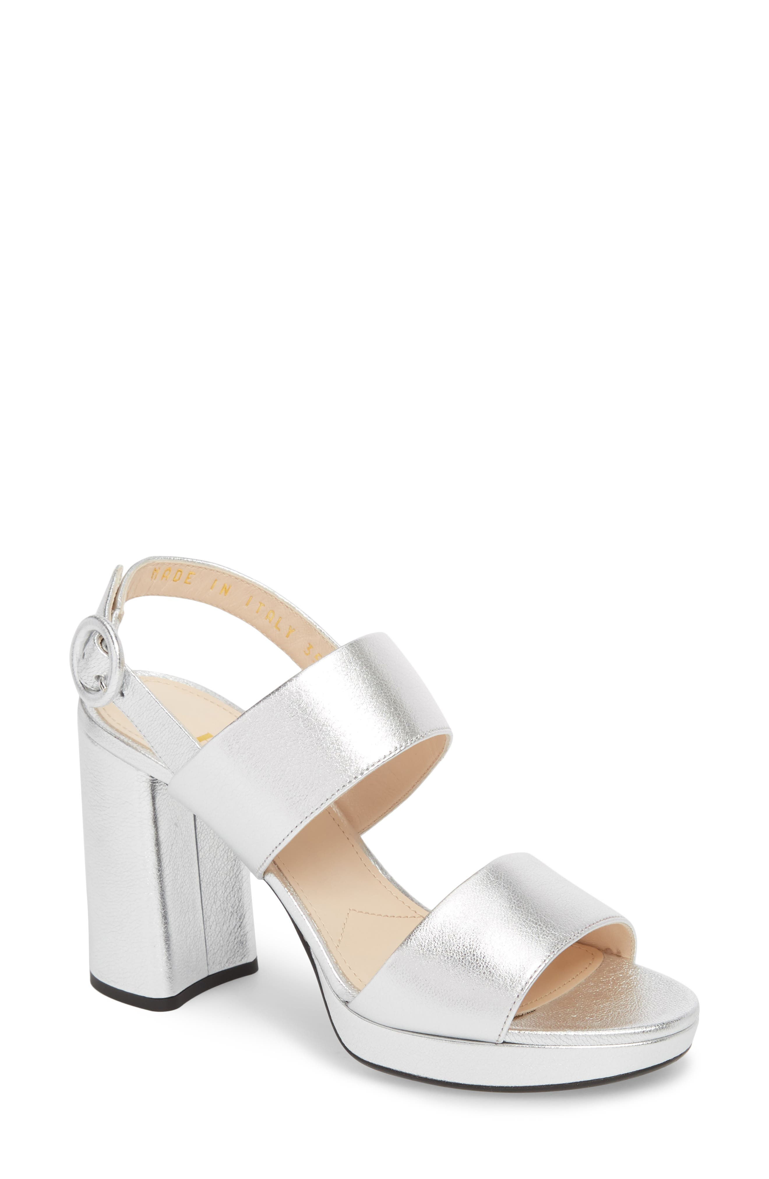 Double Band Platform Sandal,                             Main thumbnail 1, color,                             SILVER